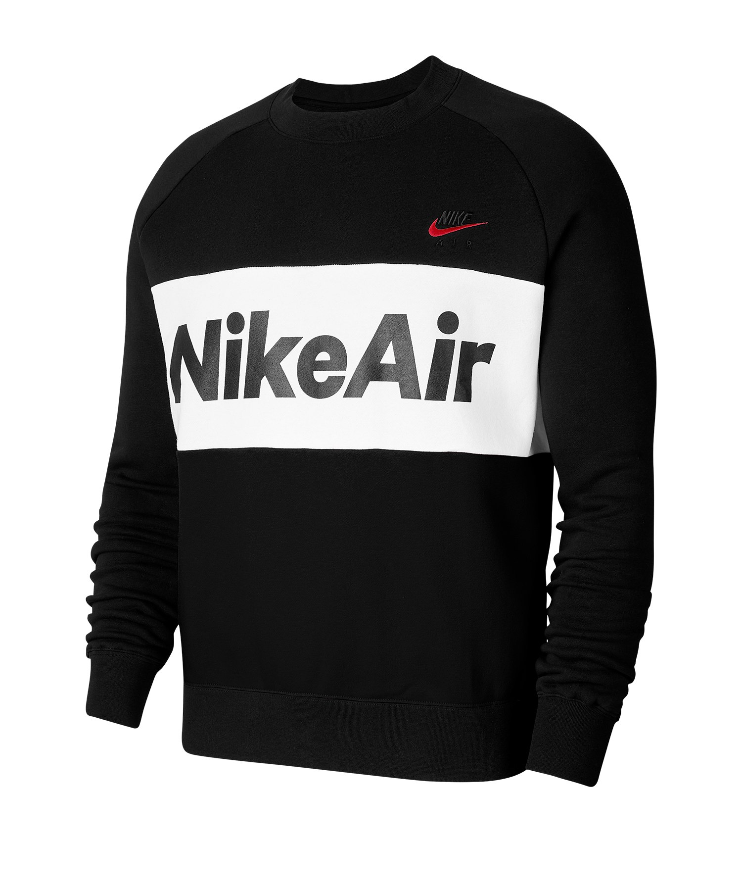 Nike Air Fleece Crew Sweatshirt Schwarz F010 - schwarz