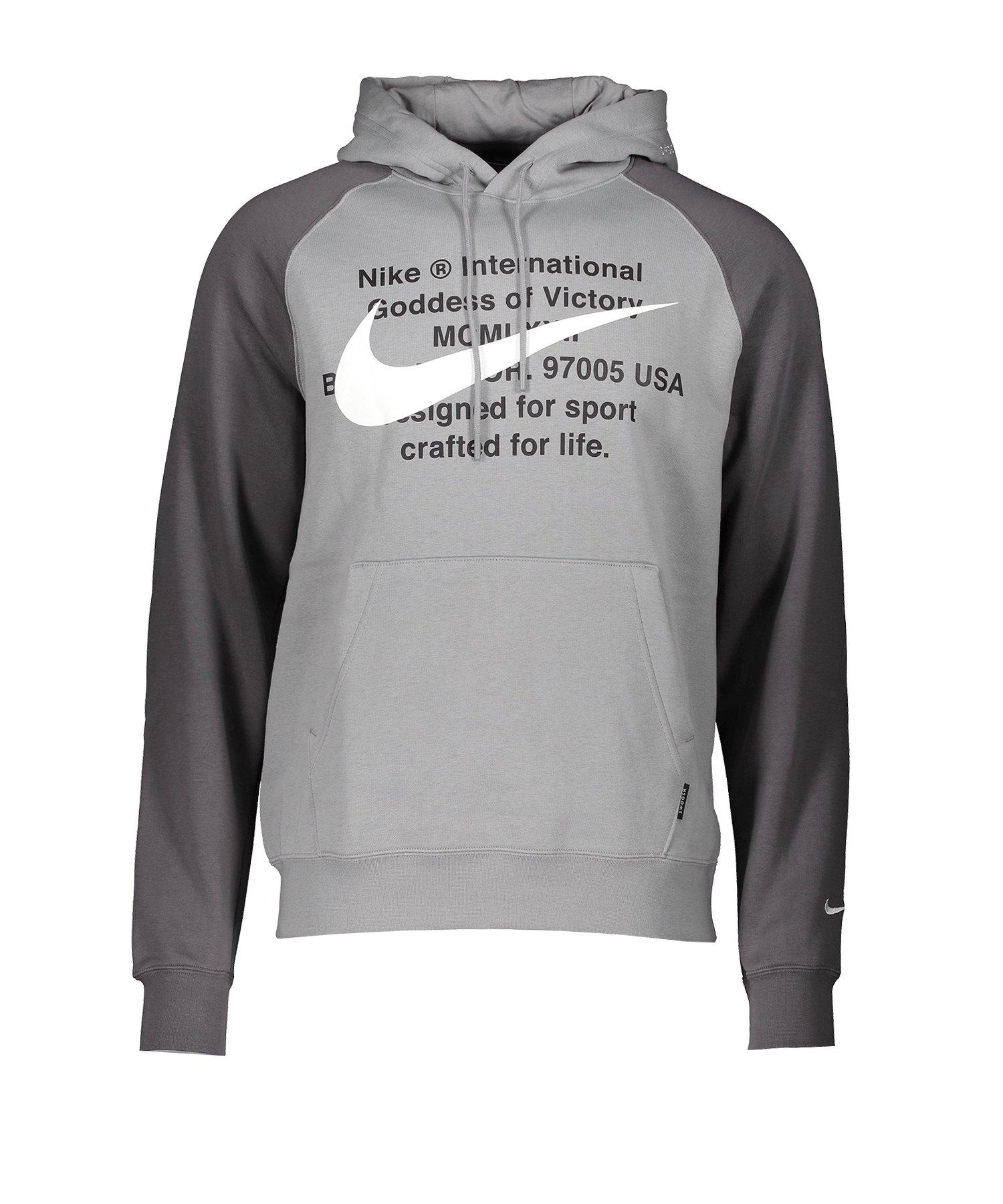 Nike Swoosh Kapuzensweatshirt Grau F073 - grau