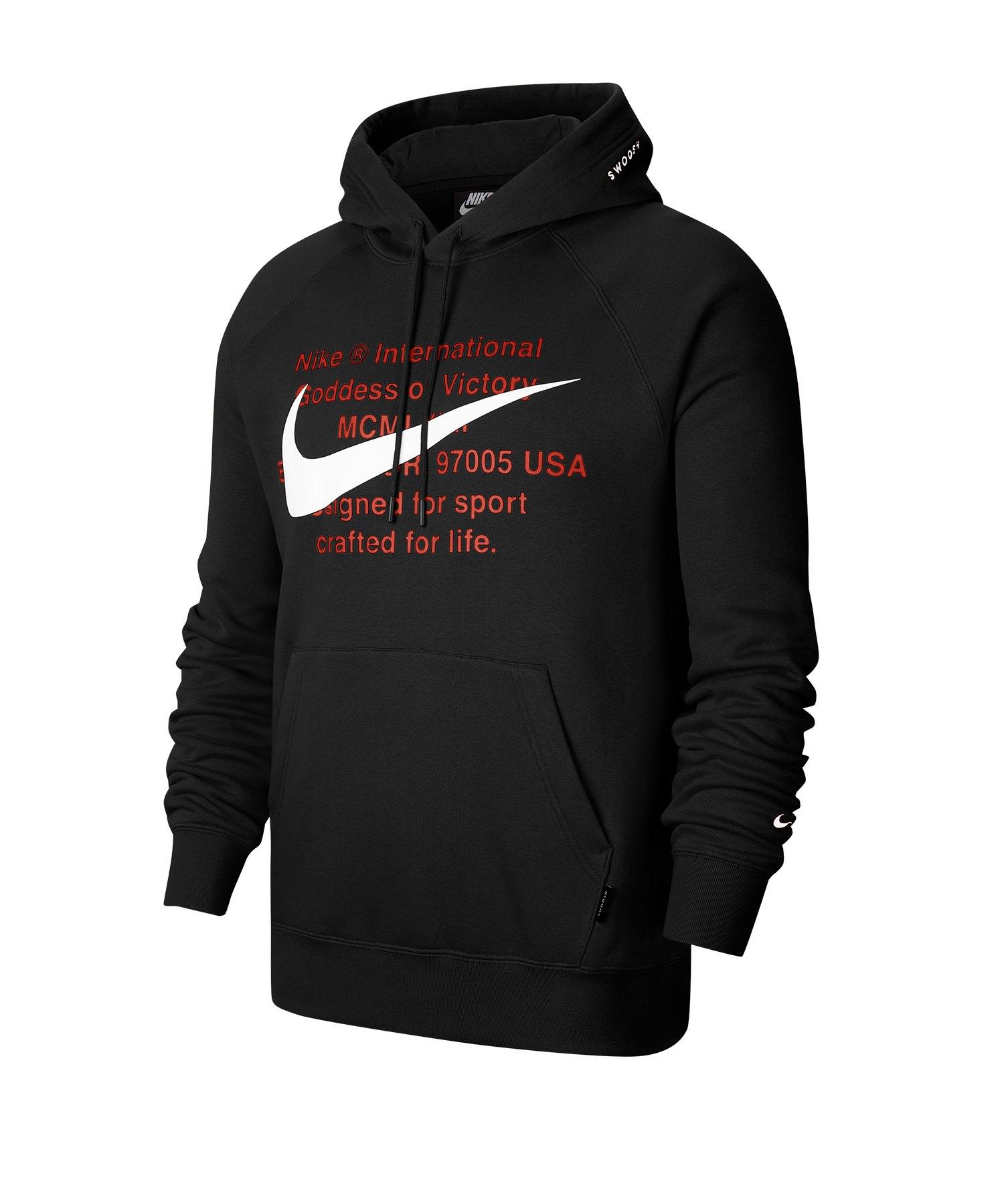 Nike Swoosh Kapuzensweatshirt Schwarz F010 - schwarz