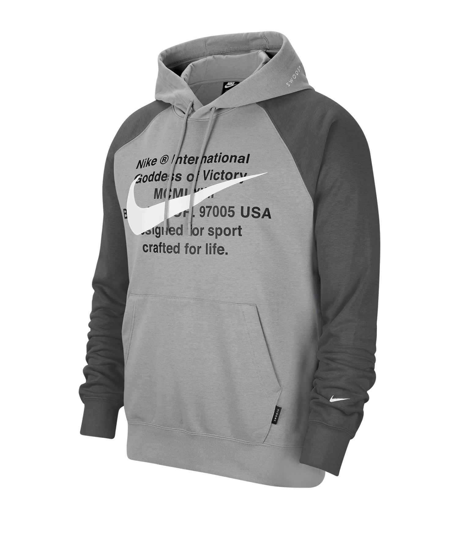 Nike Swoosh French Terry Kapuzensweatshirt F073 - grau