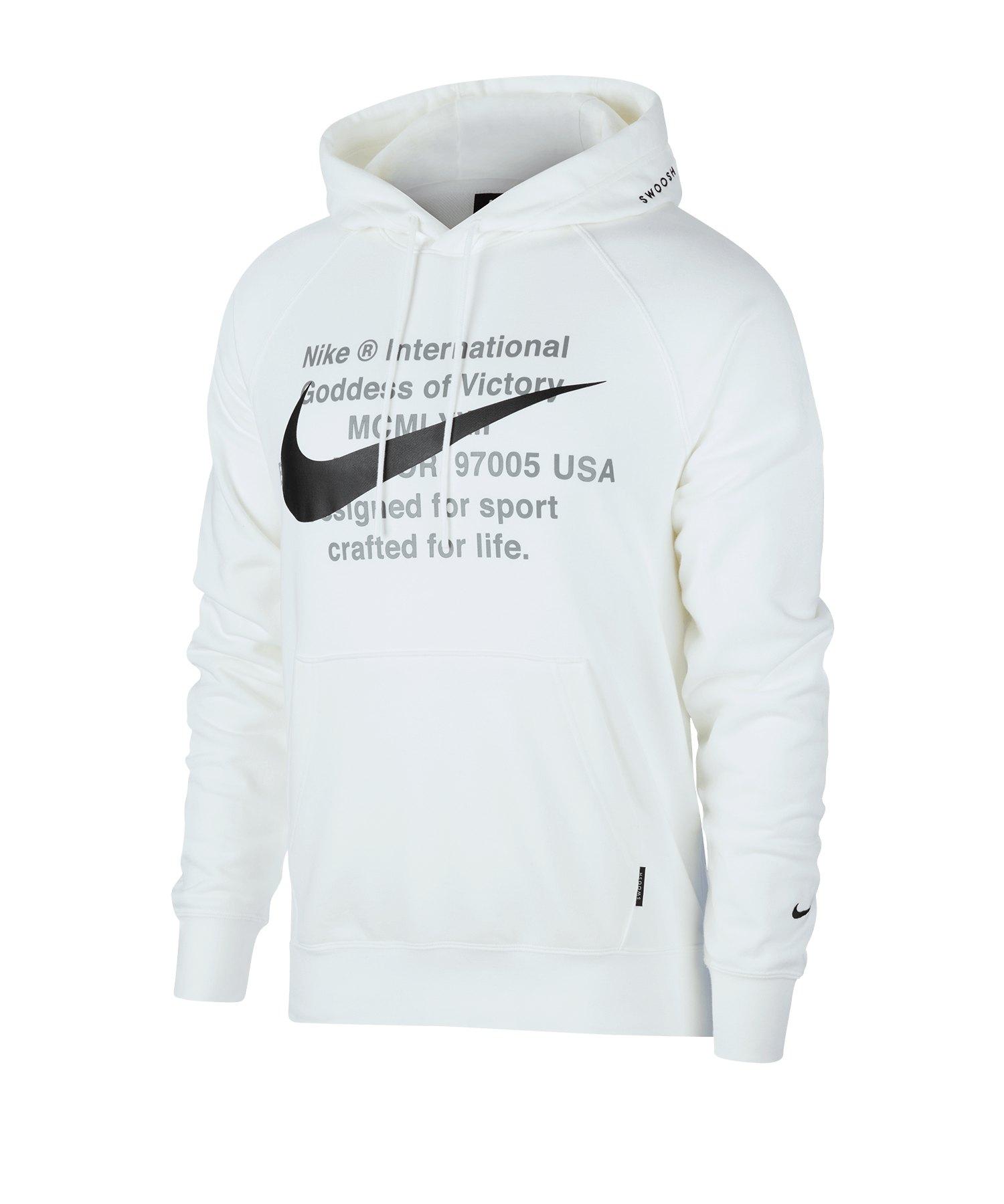 Nike Swoosh French Terry Kapuzensweatshirt F100 - weiss