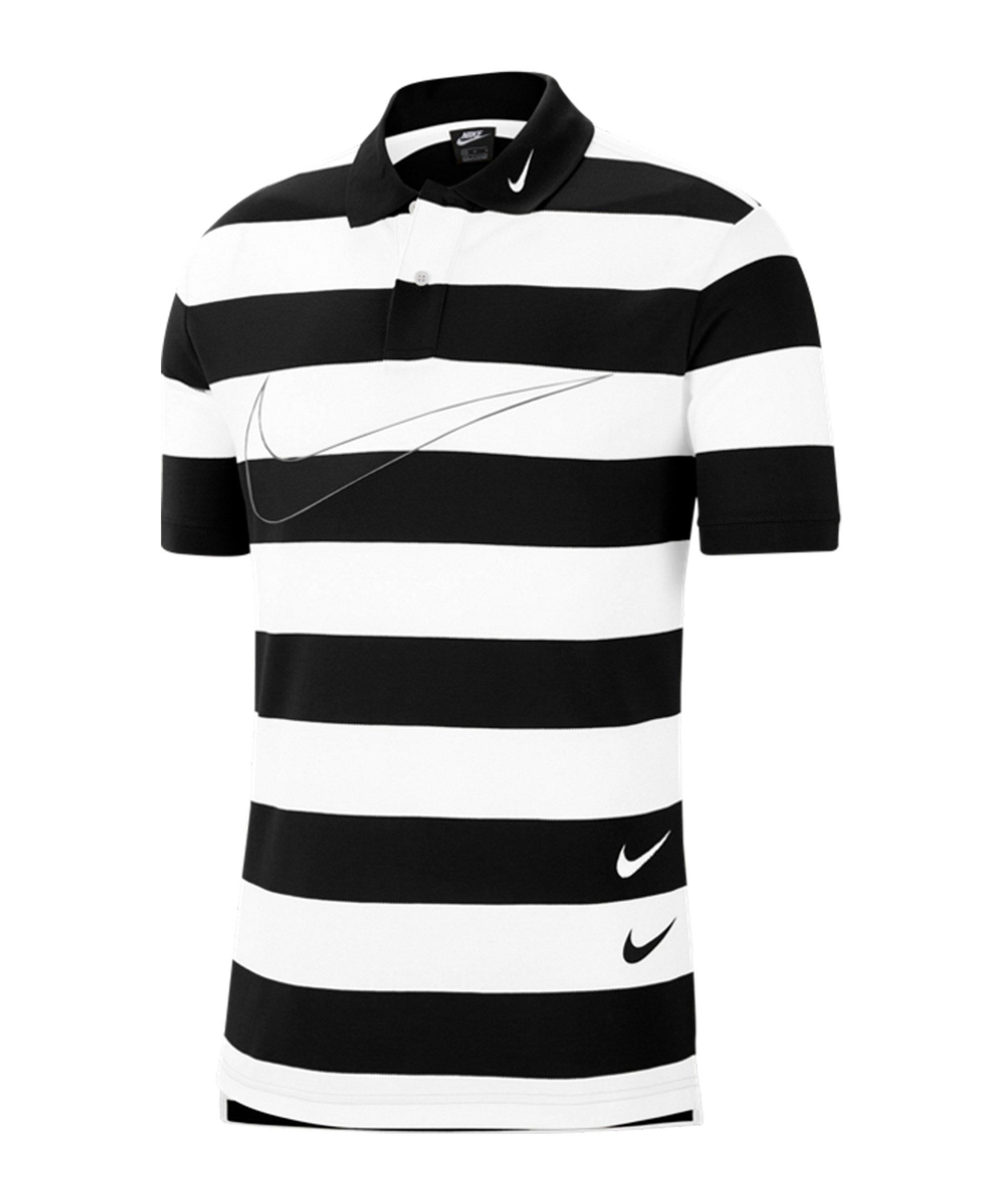 Nike Swoosh Poloshirt Schwarz Weiss F011 - schwarz