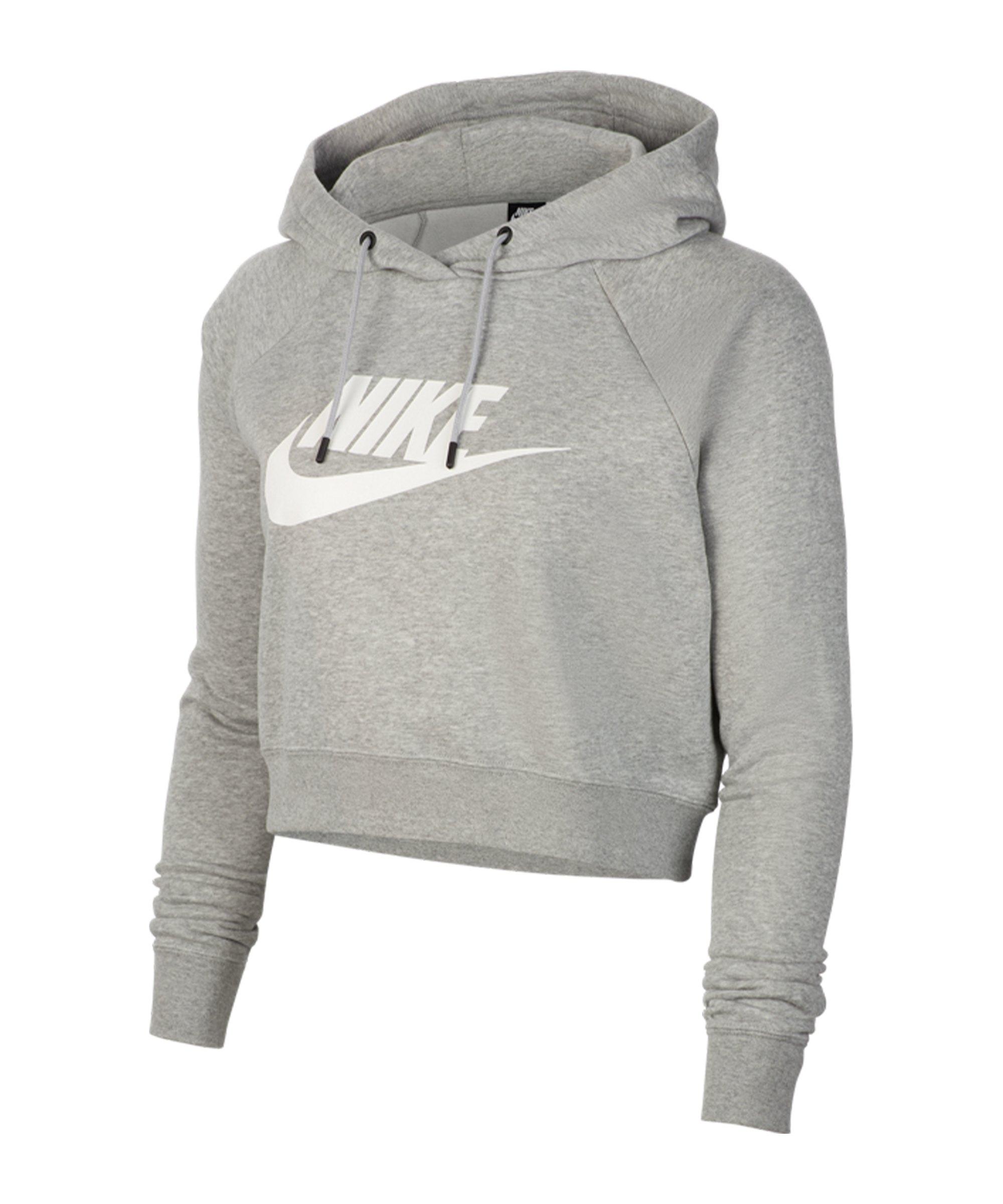 Nike Essential Cropped Hoody Damen Grau F063 - grau