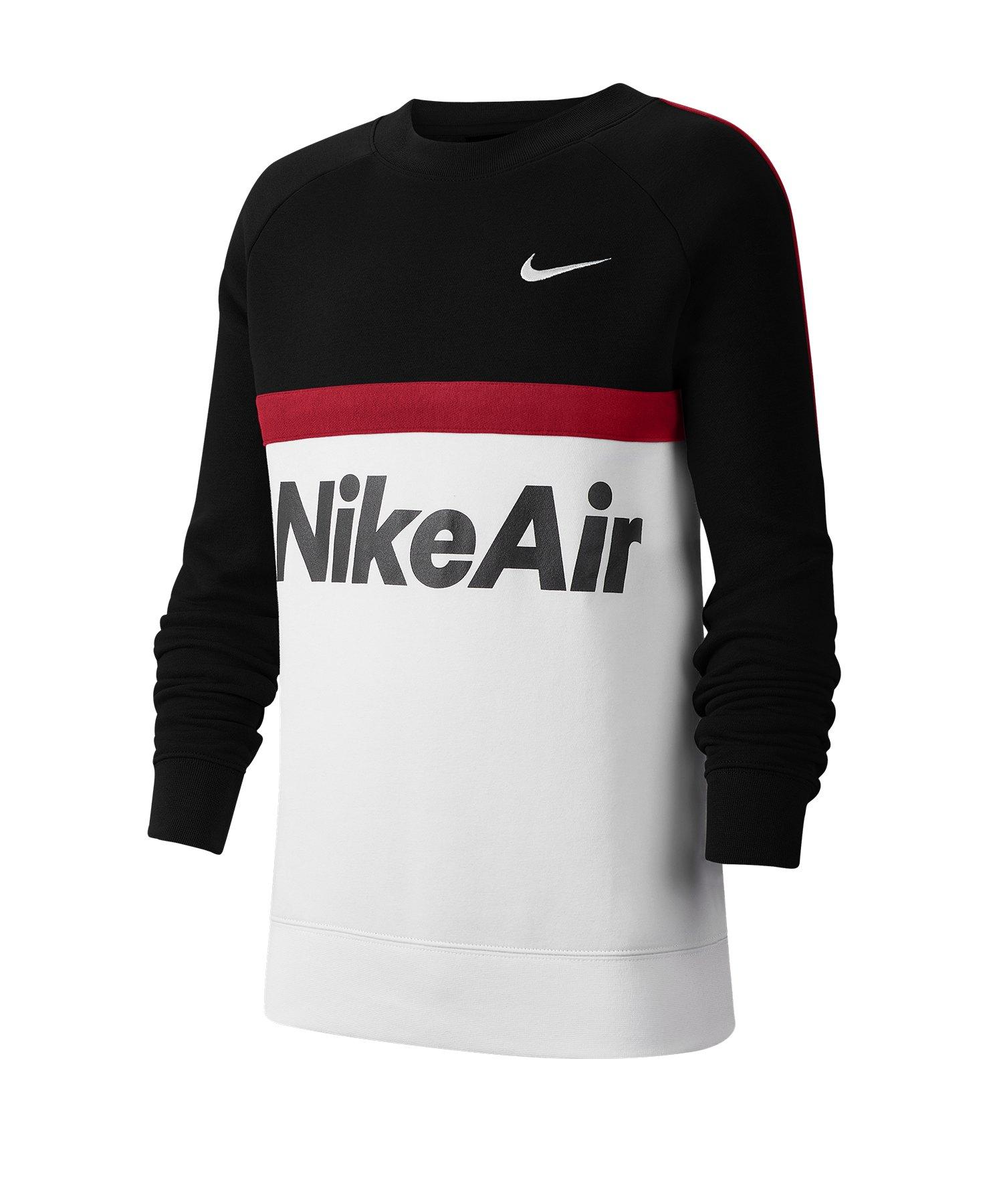 Nike Air Crew Sweatshirt Kids Schwarz Weiss F011 - schwarz