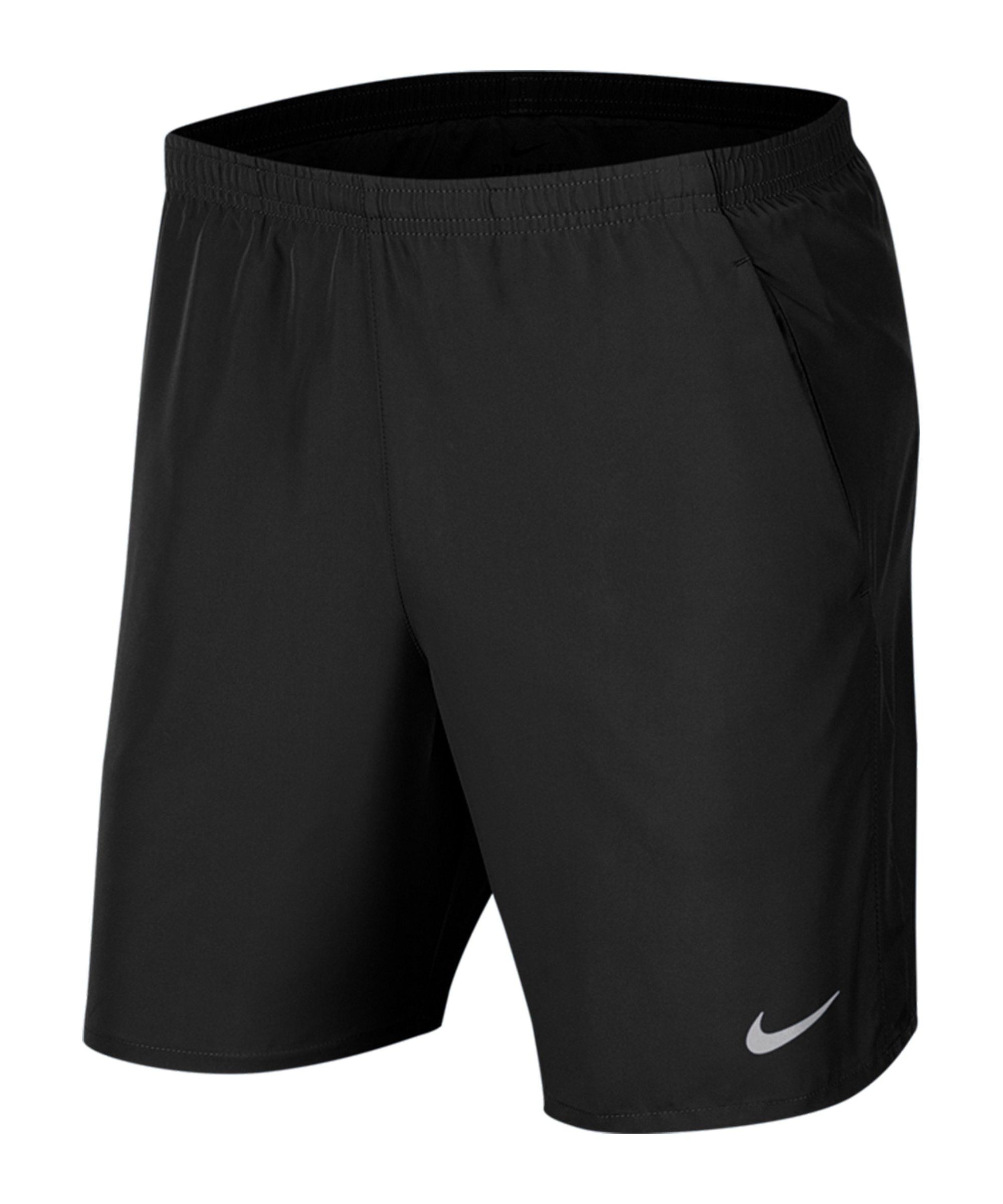 Nike Run 7BF Short Running Schwarz Silber F010 - schwarz