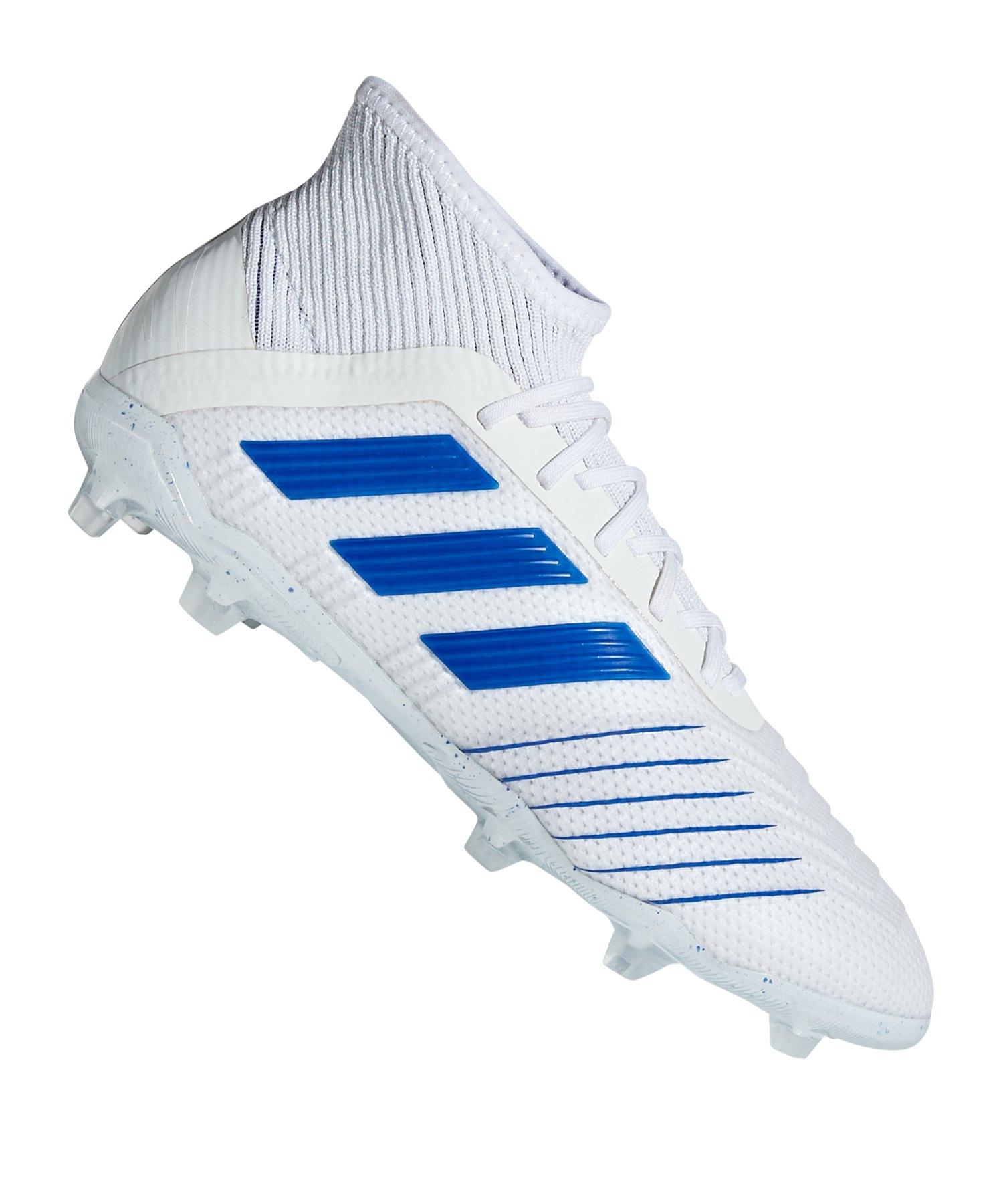 adidas Predator 19.1 FG J Kids Weiss Blau - weiss
