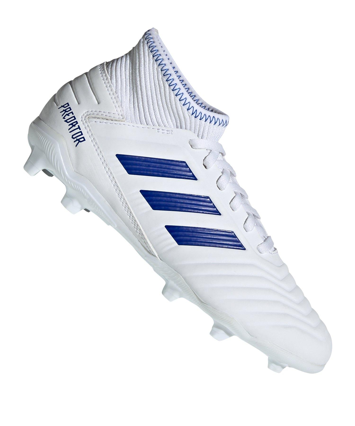 adidas Predator 19.3 FG J Kids Weiss Blau - weiss