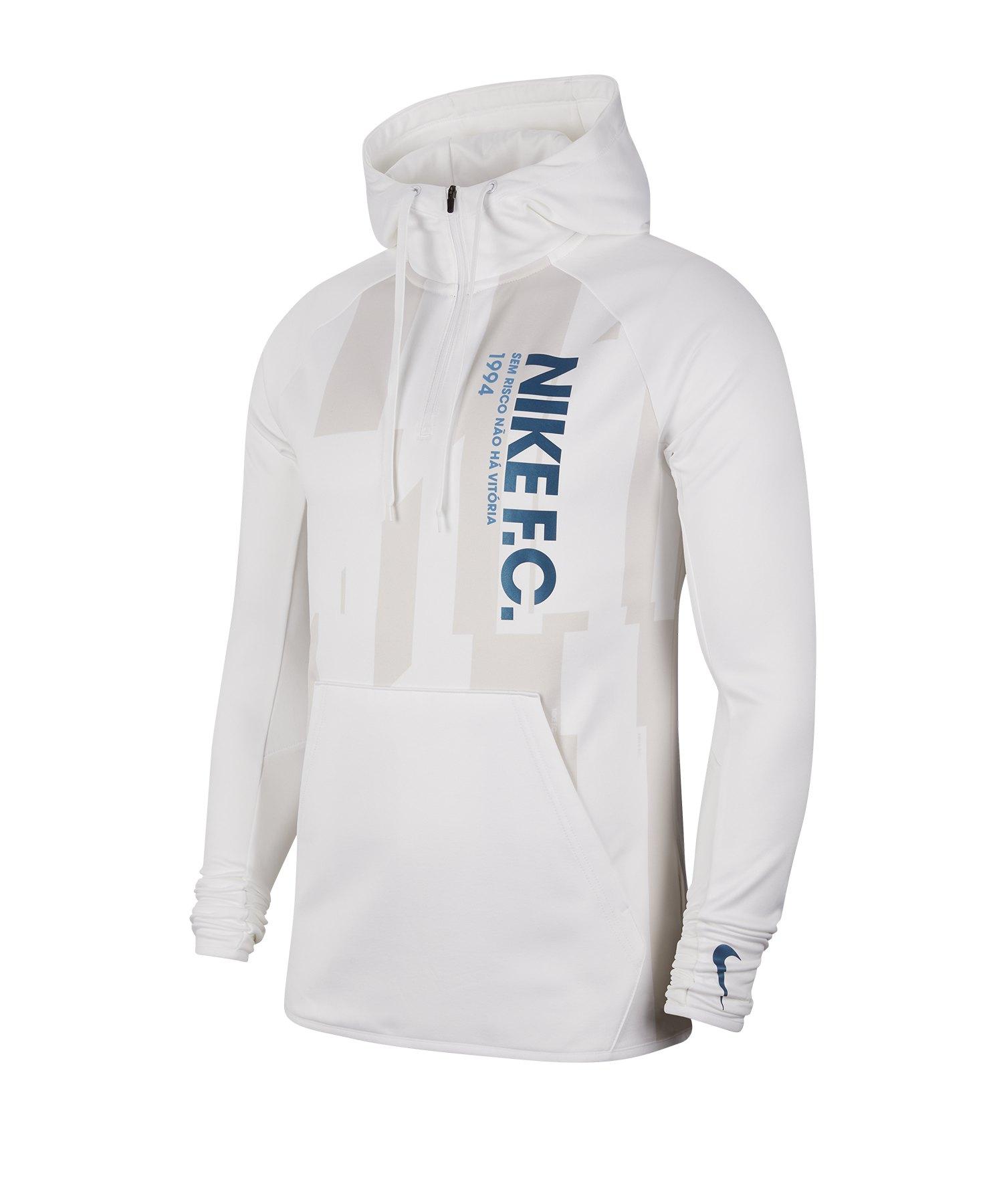 Nike F.C. Hoody Kapuzensweatshirt Weiss F100 - weiss