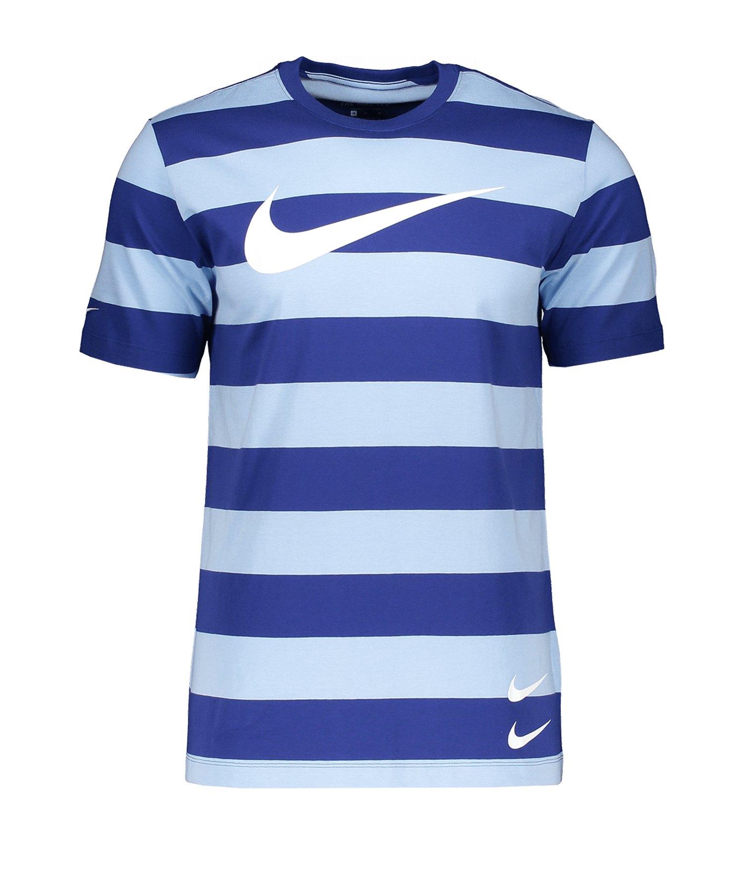 Nike Swoosh Stripe Tee T-Shirt Blau F436 - blau