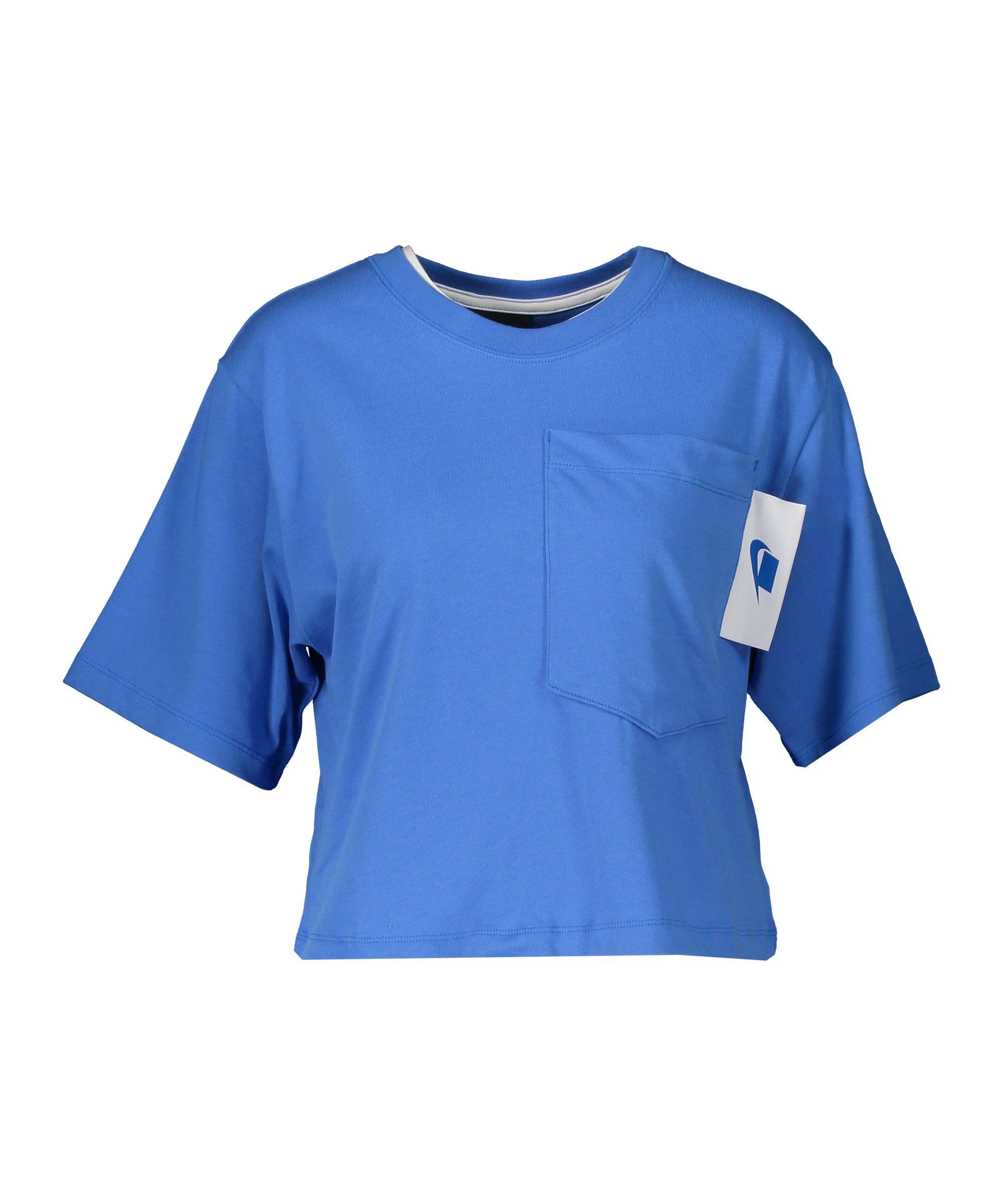 Nike Crop T-Shirt Damen Blau F402 - blau