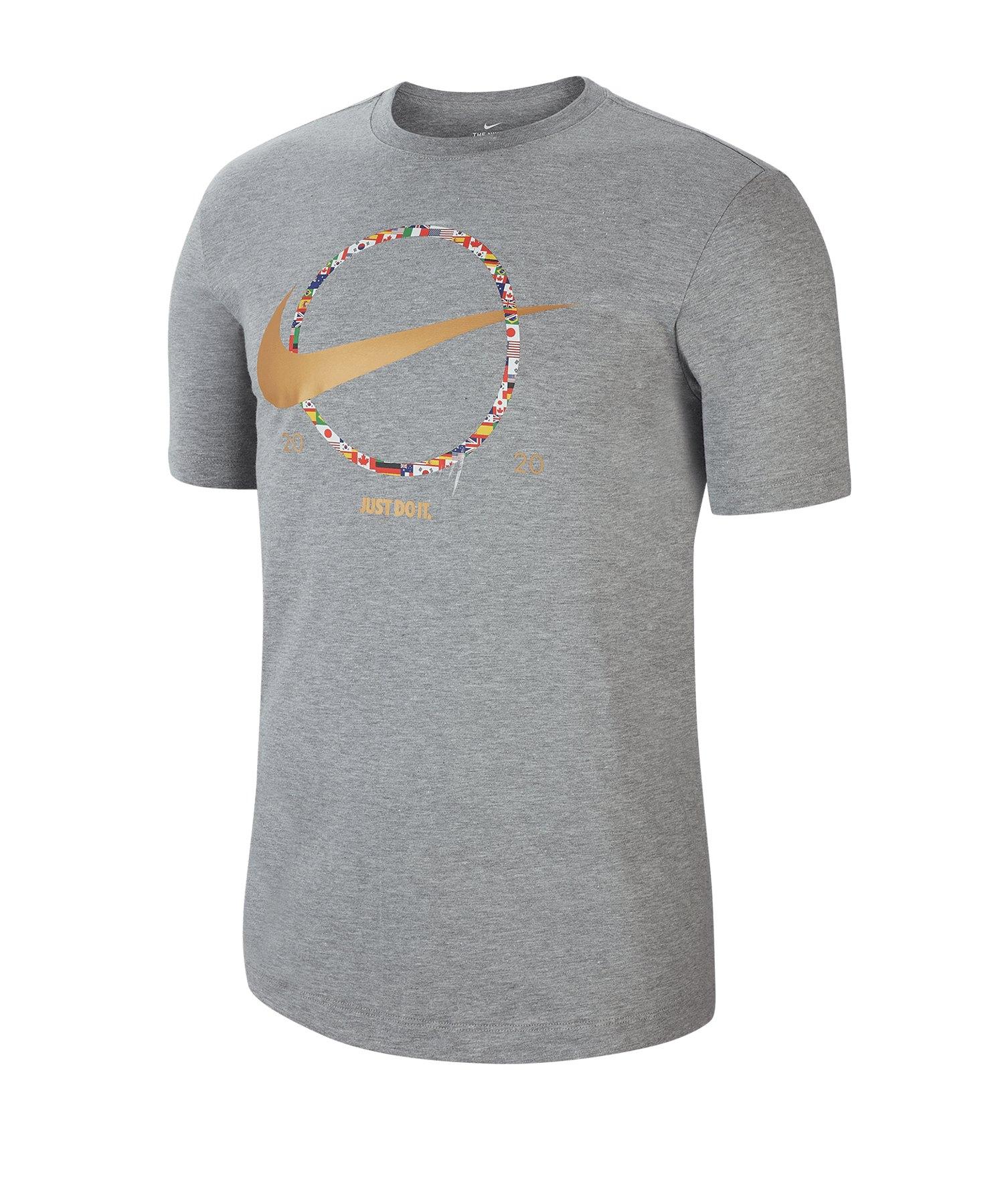 Nike Swoosh Preheat Tee T-Shirt Grau F063 - grau