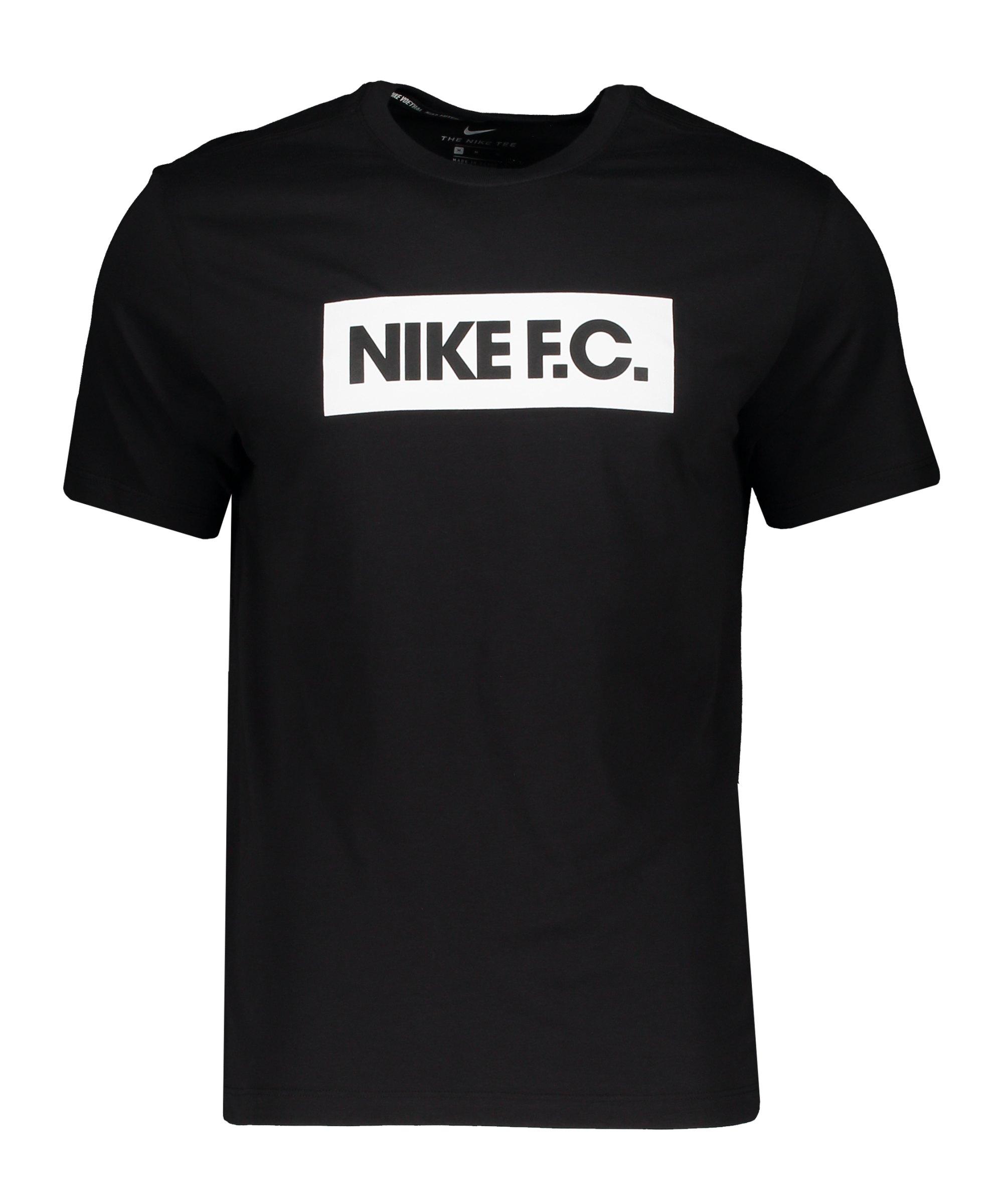 Nike F.C. Essential T-Shirt Schwarz Weiss F010 - schwarz