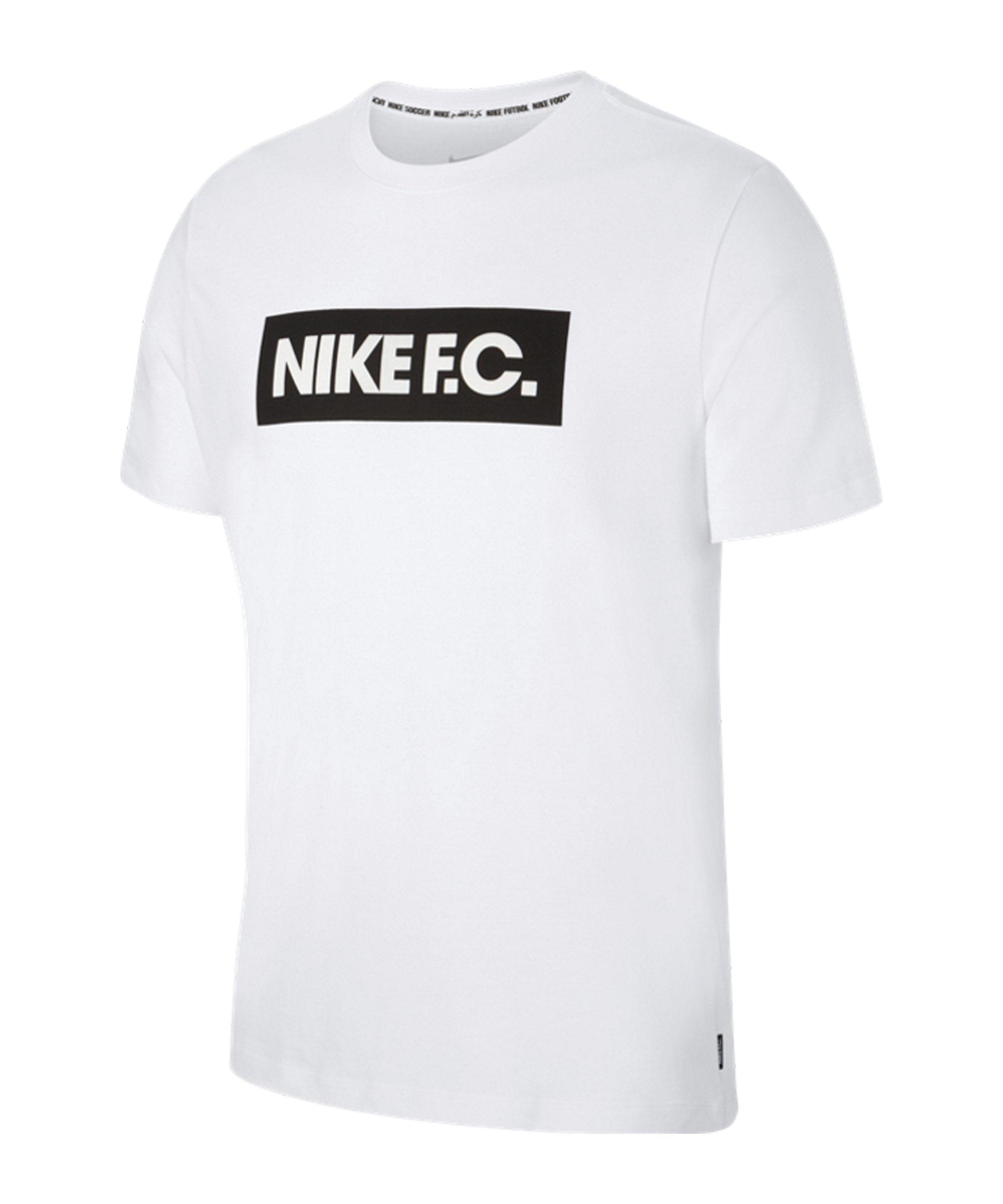 Nike F.C. Essential T-Shirt Weiss Schwarz F100 - weiss