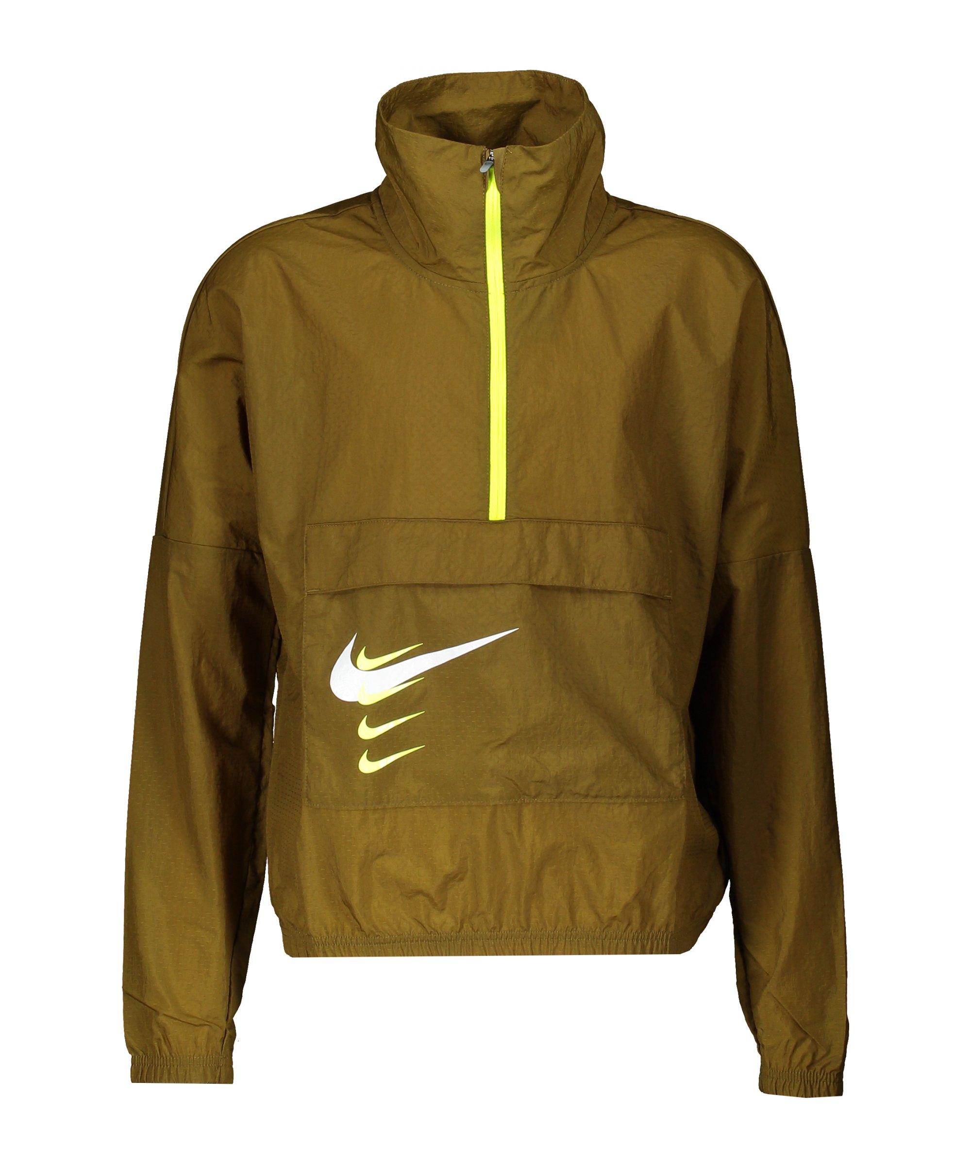 Nike Swoosh Langarmshirt Running Damen Grün F368 - gruen