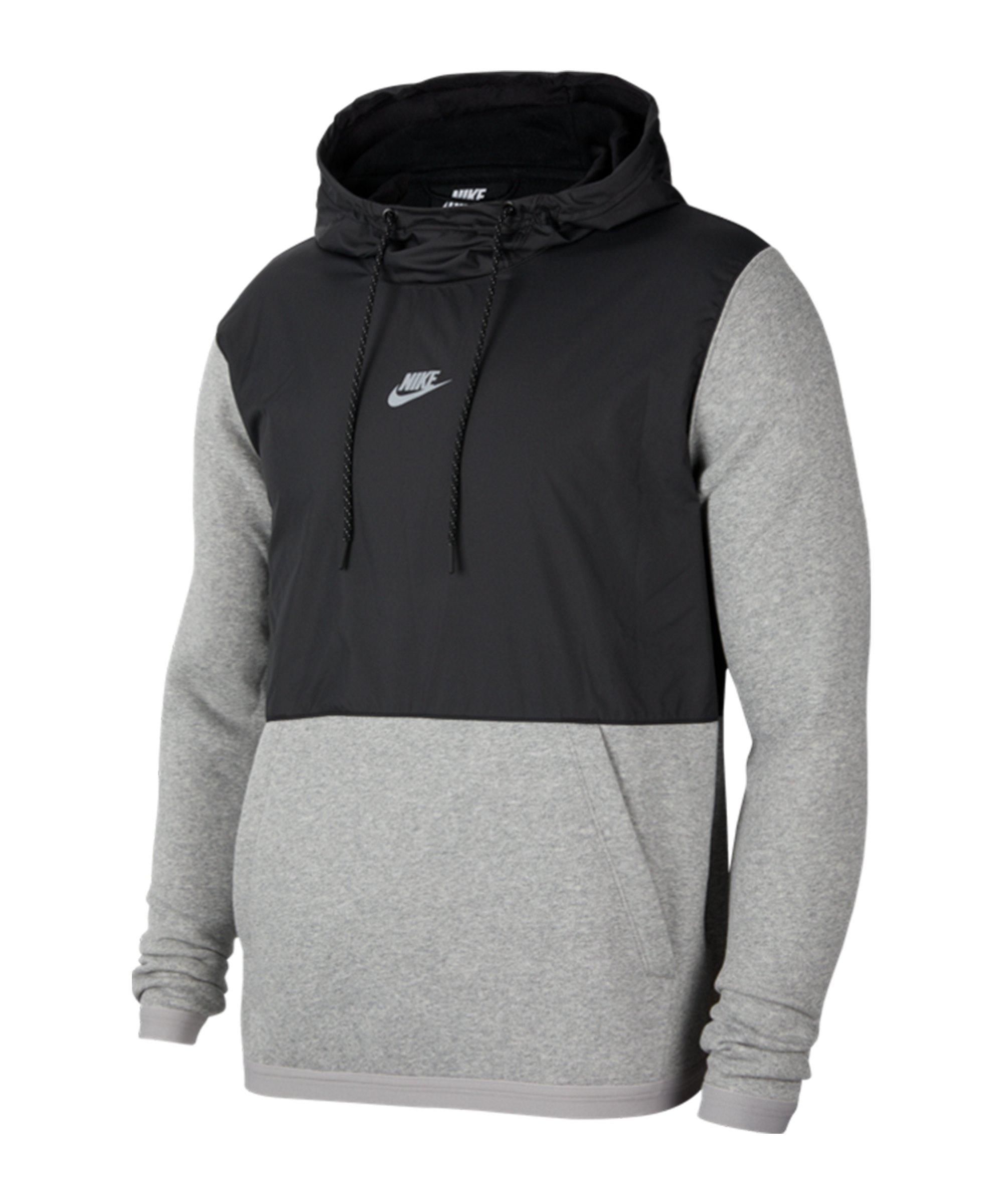 Nike JDI Fleece Mix Hoody Schwarz Grau F010 - schwarz