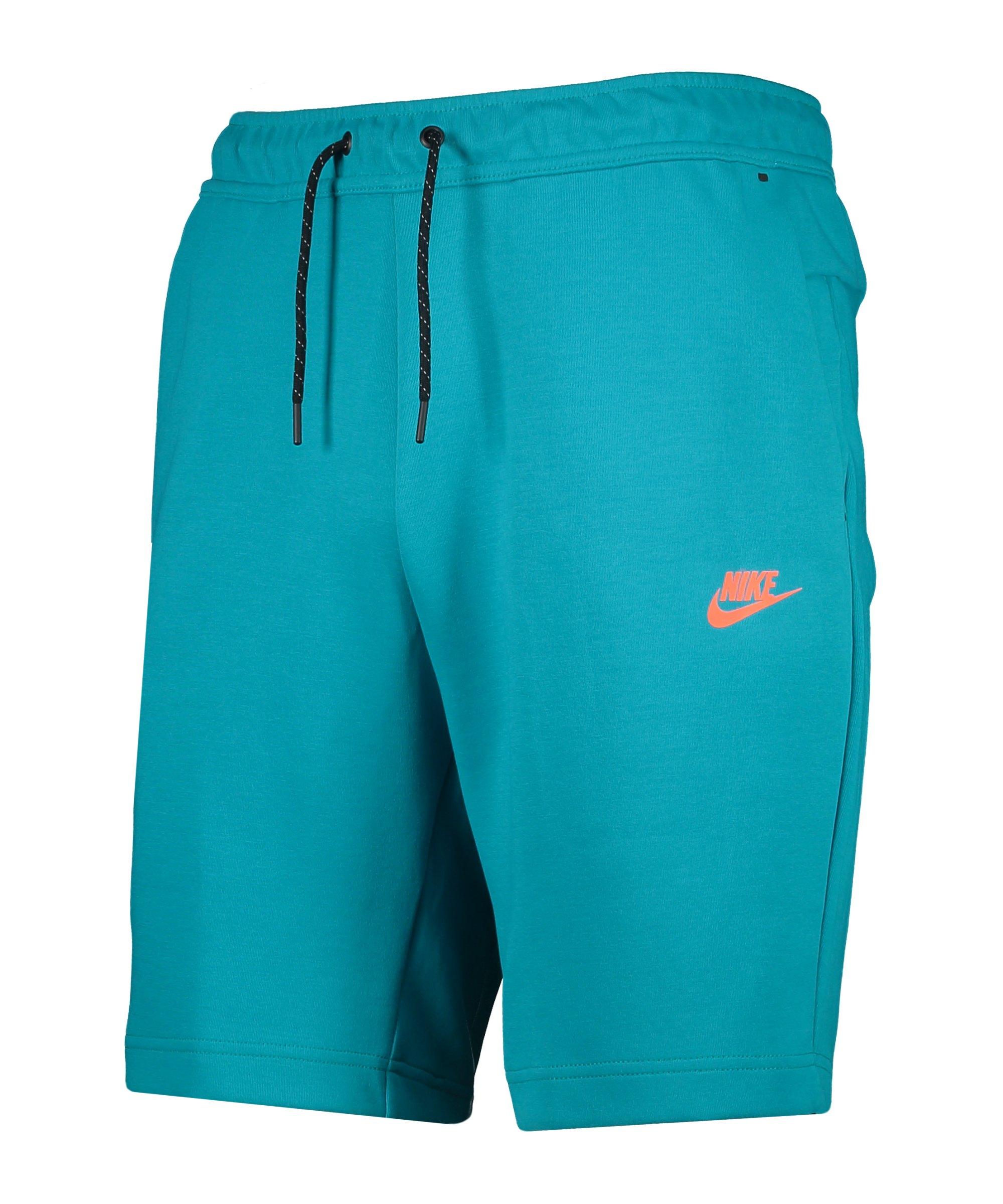 Nike Tech Fleece Short Blau Orange F356 - tuerkis
