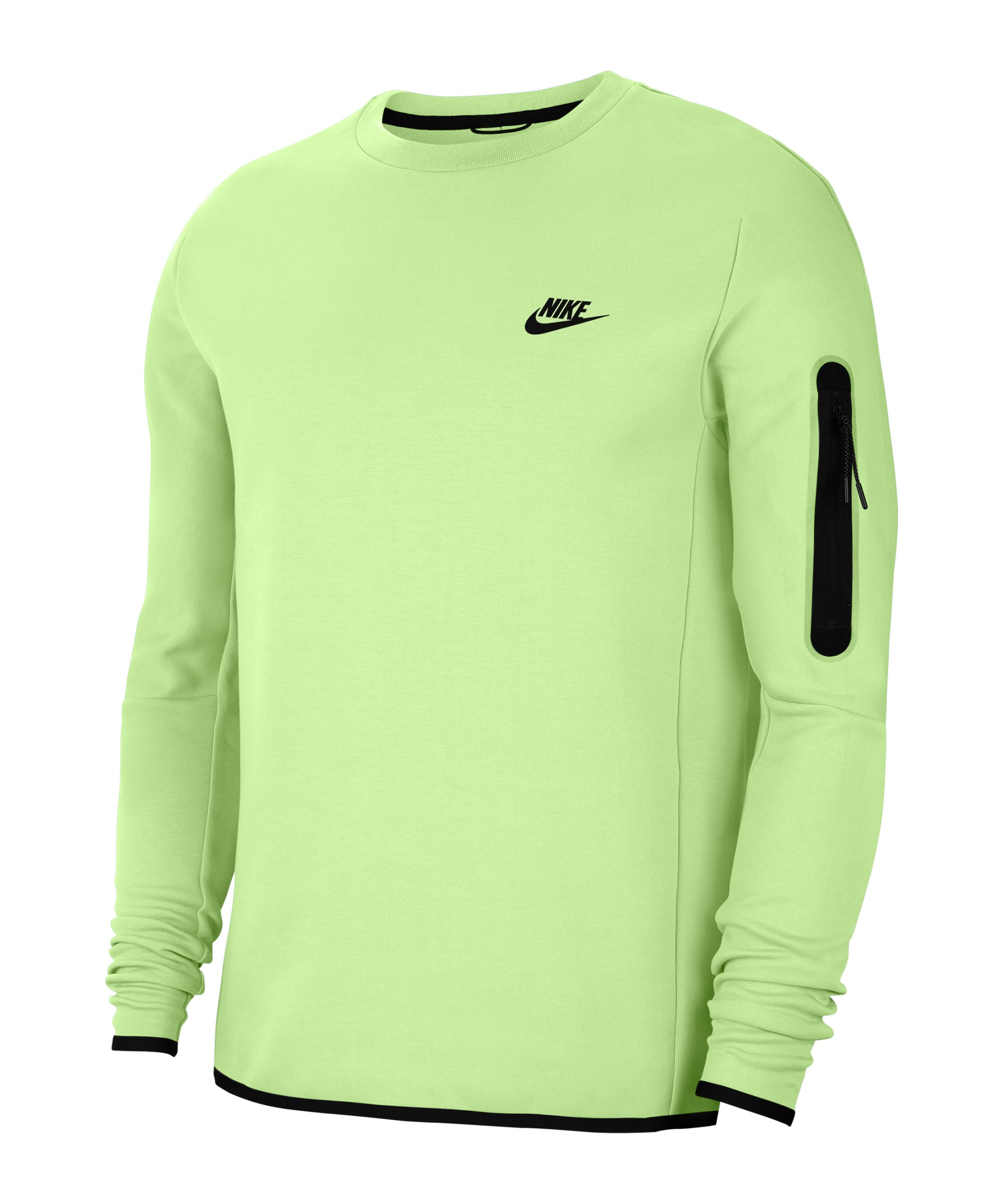 Nike Tech Fleece Crew Sweatshirt Grün Schwarz F383 - gruen