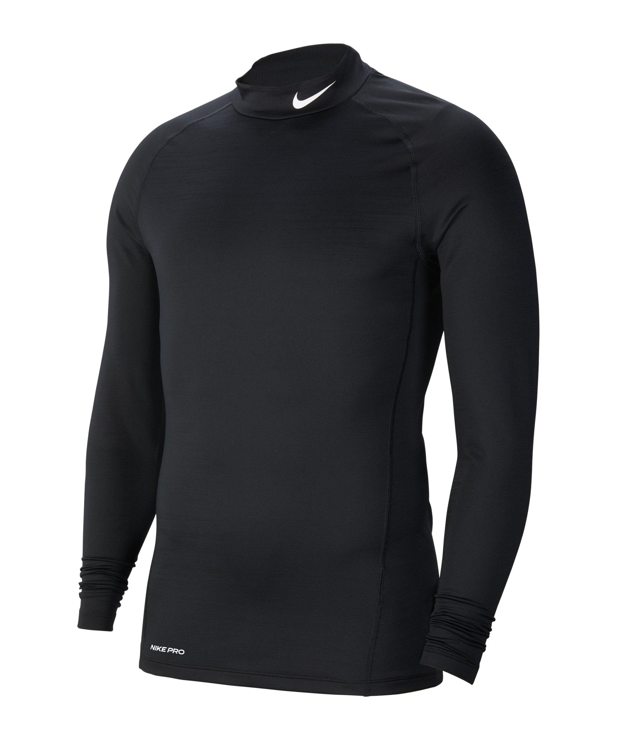 Nike Pro Warm Top Mock Schwarz F010 - schwarz