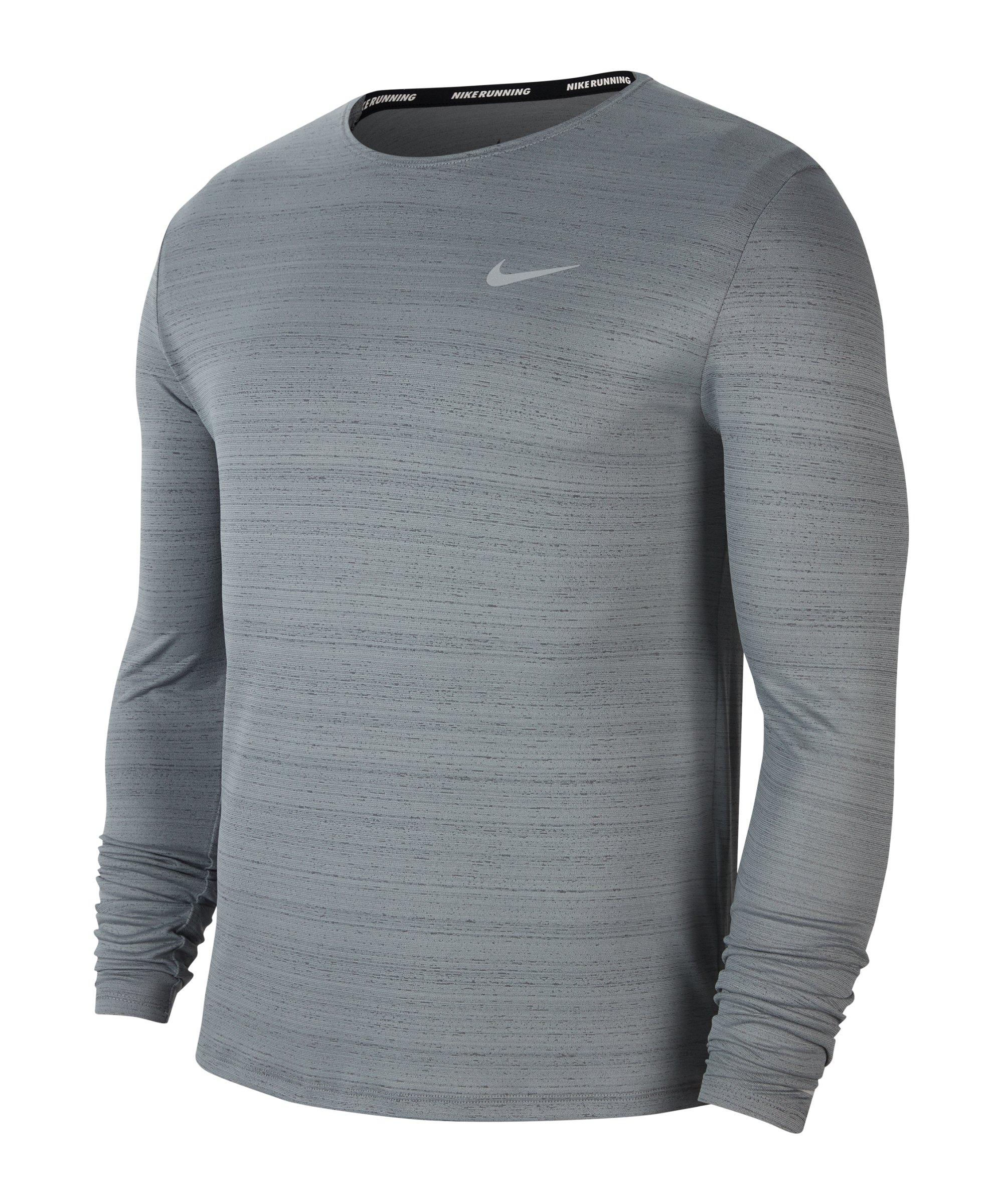 Nike Miler Dri-FIT Top langarm Running F084 - grau