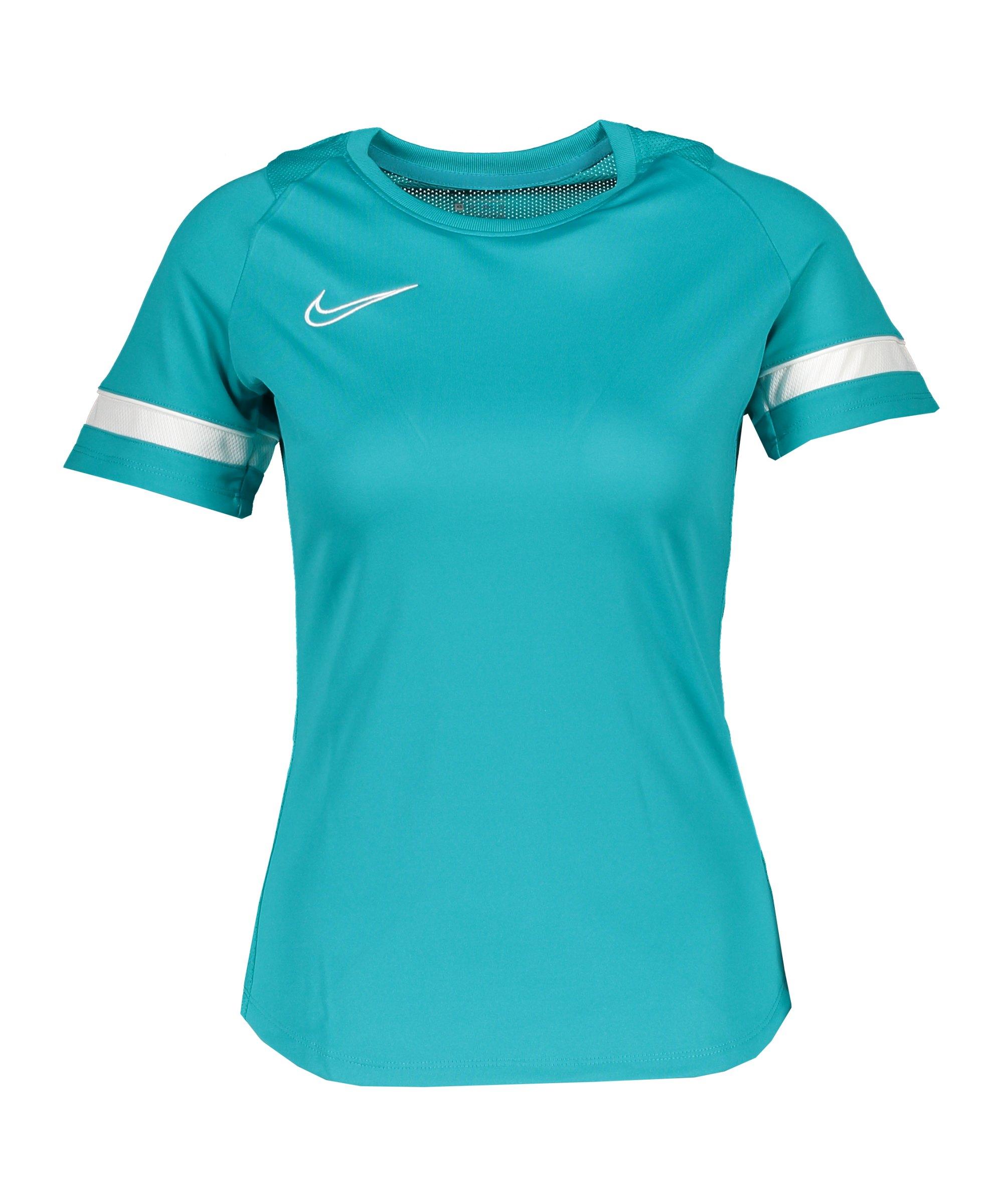 Nike Academy 21 T-Shirt Damen Blau Weiss F356 - tuerkis