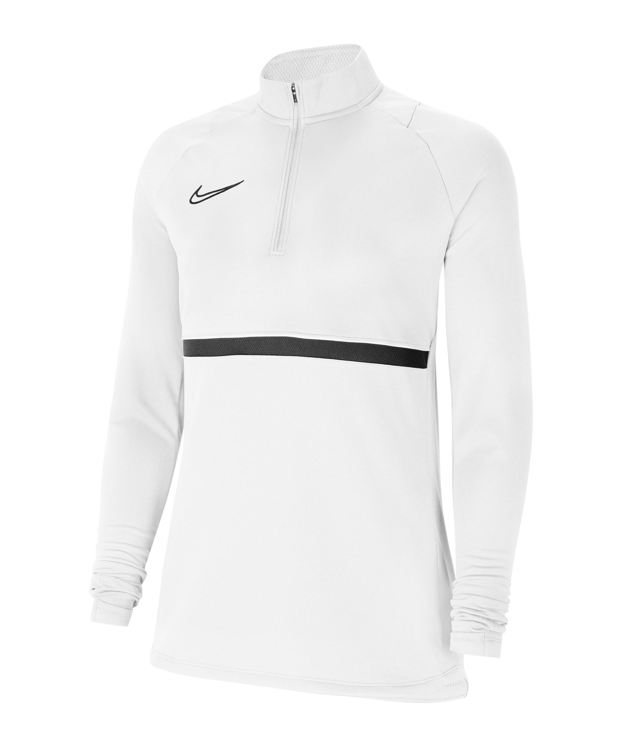 Nike Academy 21 Drill Top Damen Weiss Schwarz F100 - weiss