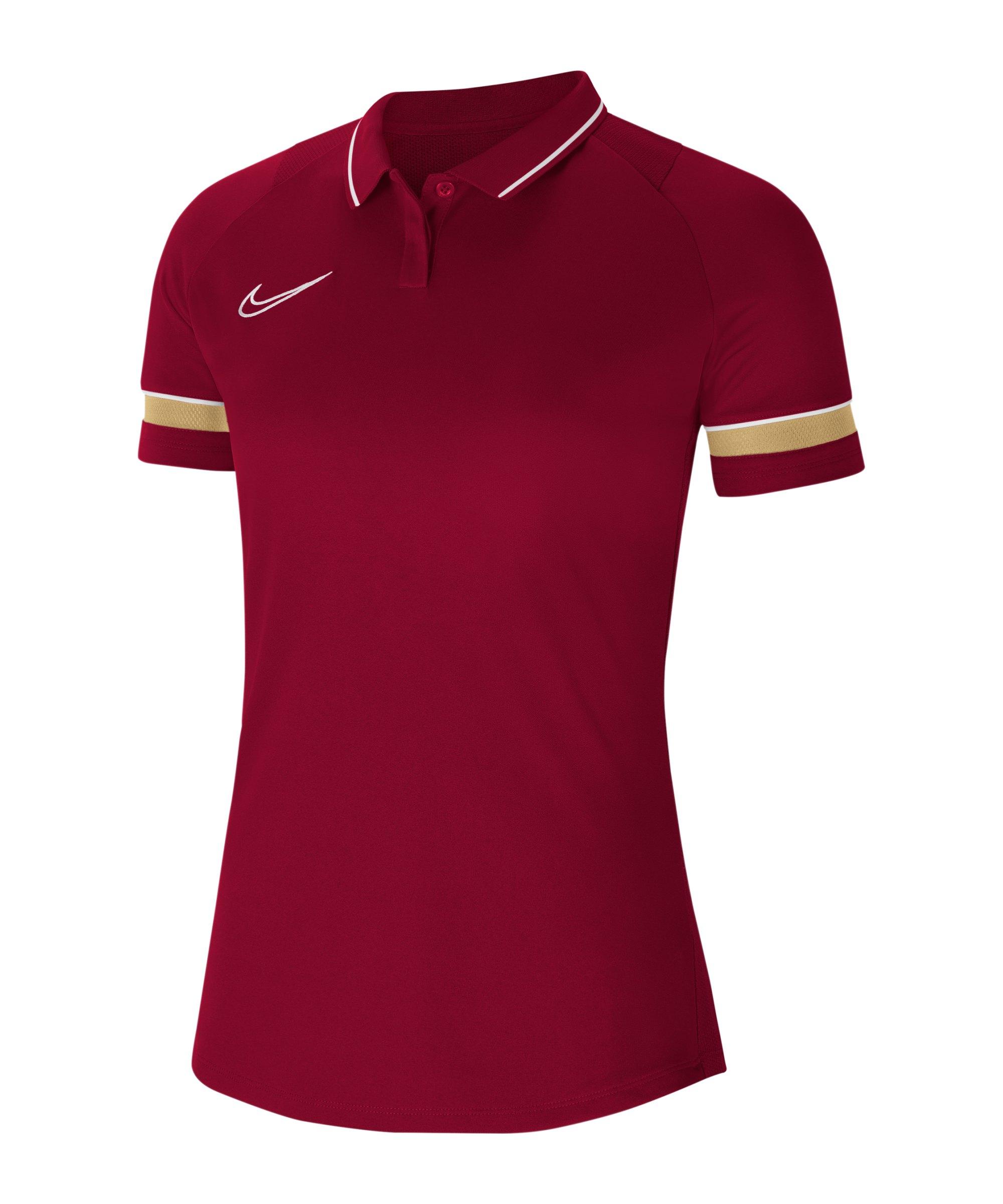 Nike Academy 21 Poloshirt Damen Rot Weiss F677 - rot