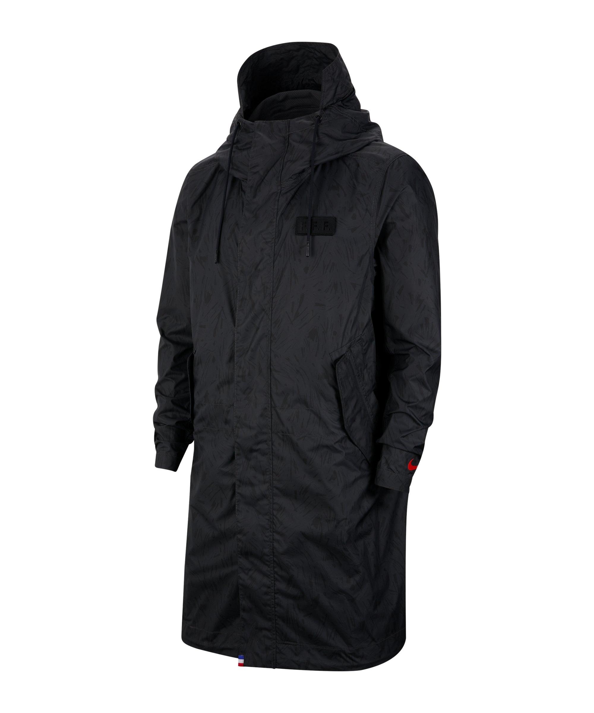 Nike Frankreich Parka Jacke Schwarz F010 - schwarz