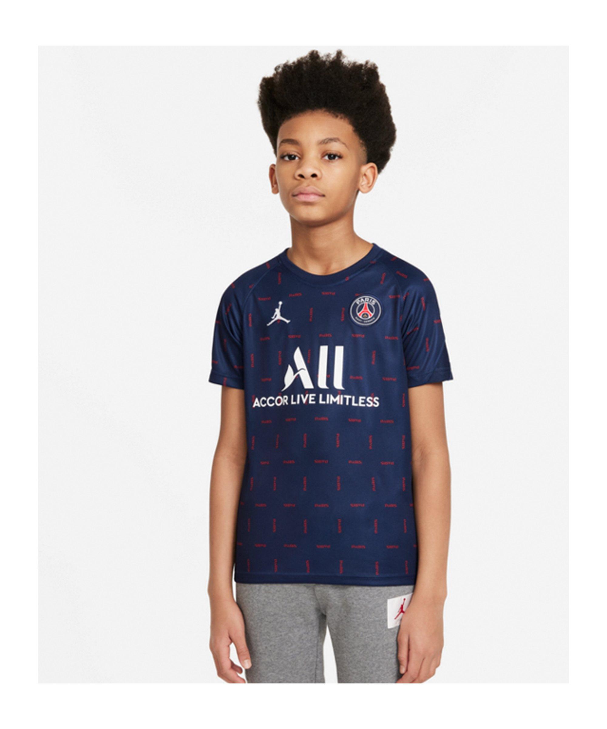 Jordan Paris St. Germain Prematch Shirt 2021/2022 Kids Blau F411 - blau