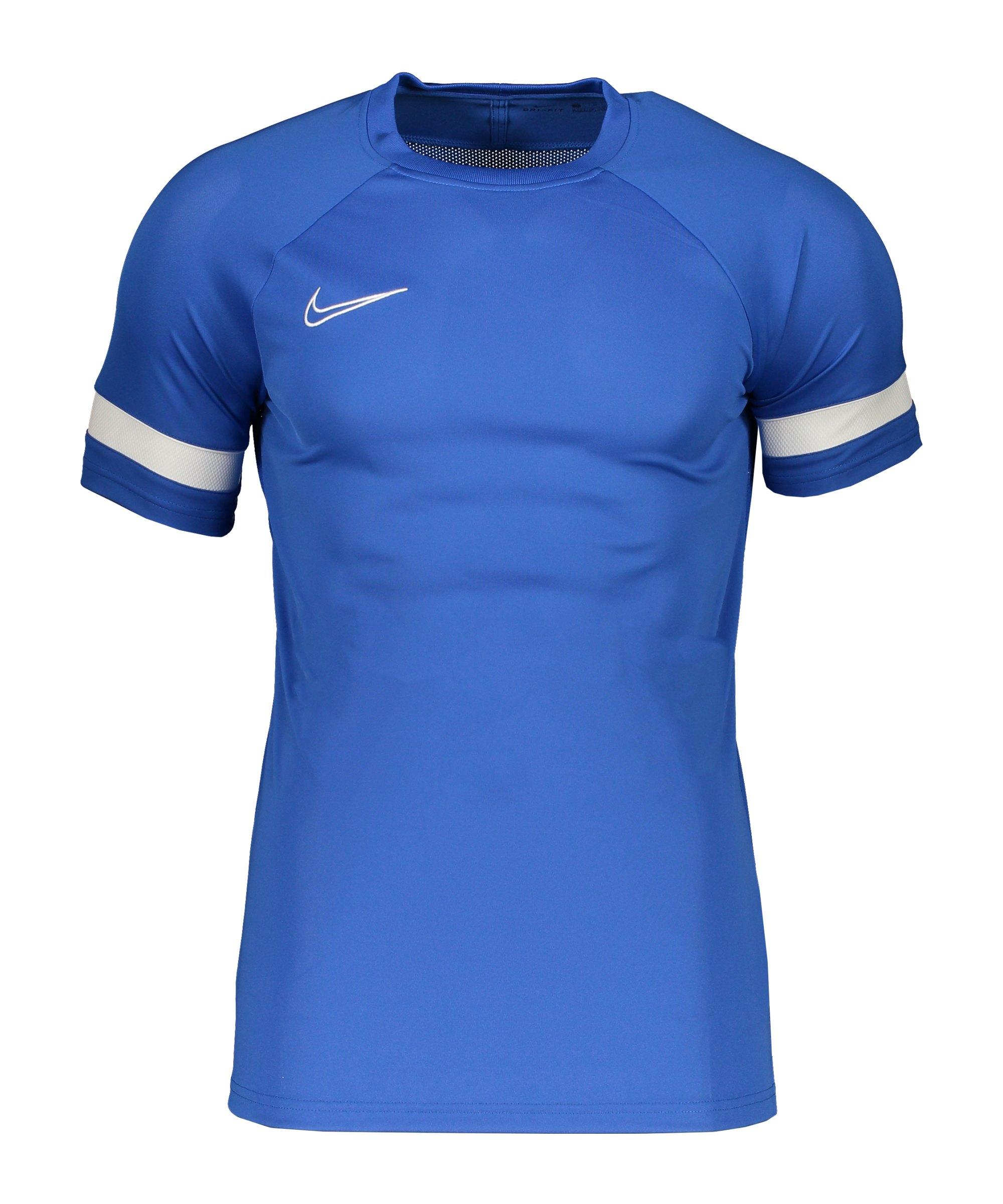 Nike Academy 21 T-Shirt Blau Weiss F480 - blau