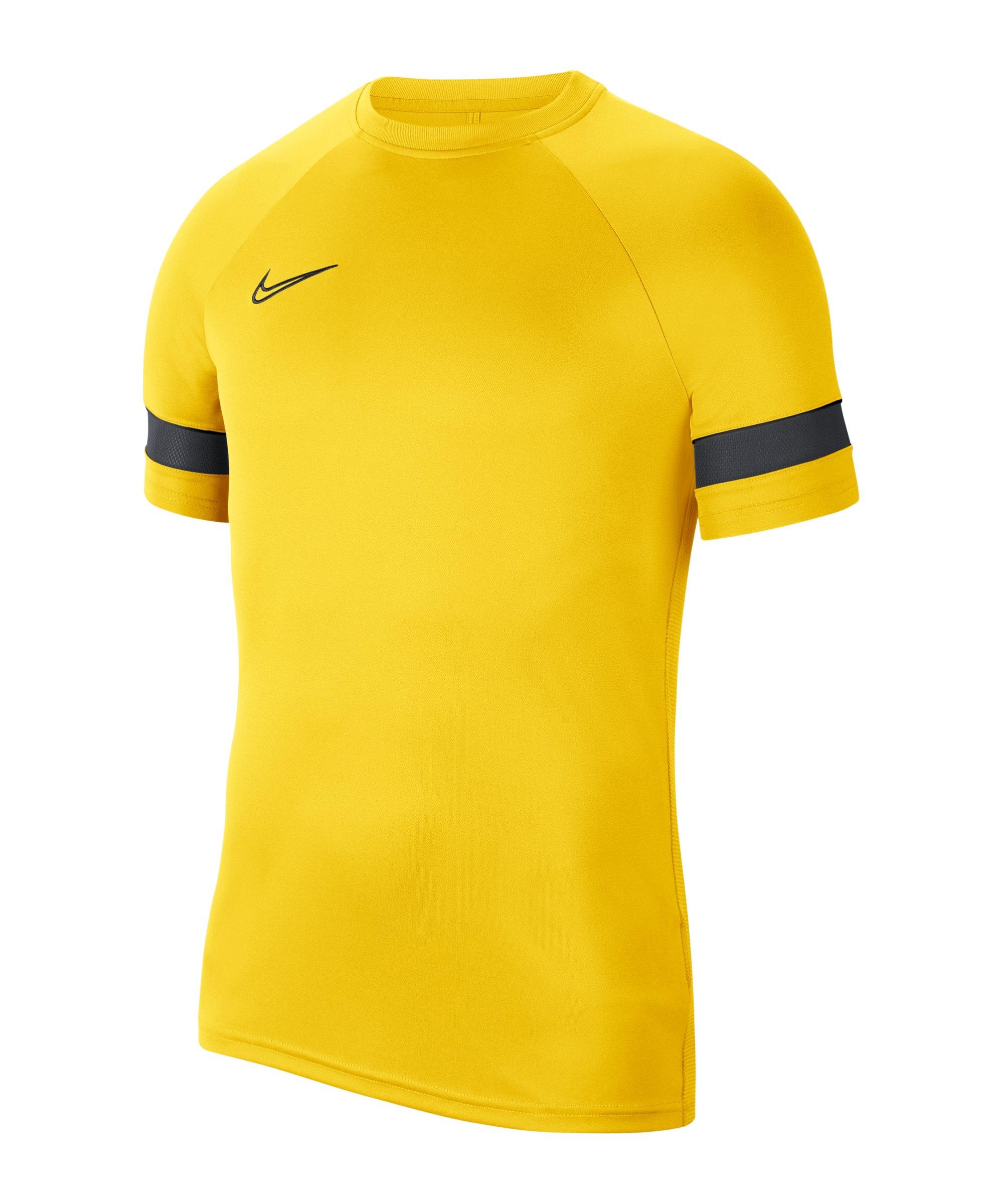 Nike Academy 21 T-Shirt Gelb Schwarz F719 - gelb