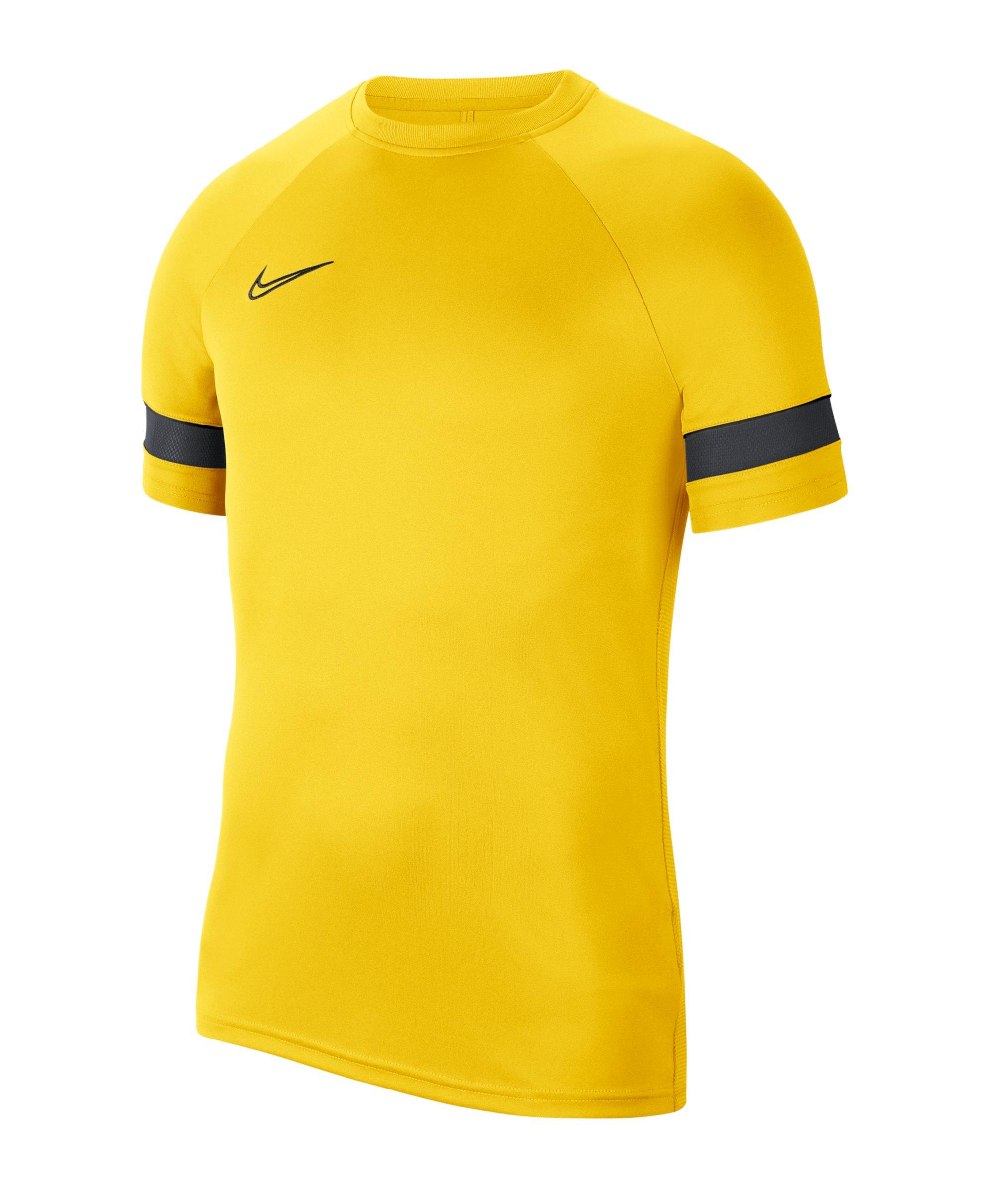 Nike Academy 21 T-Shirt Kids Gelb Schwarz F719 - gelb