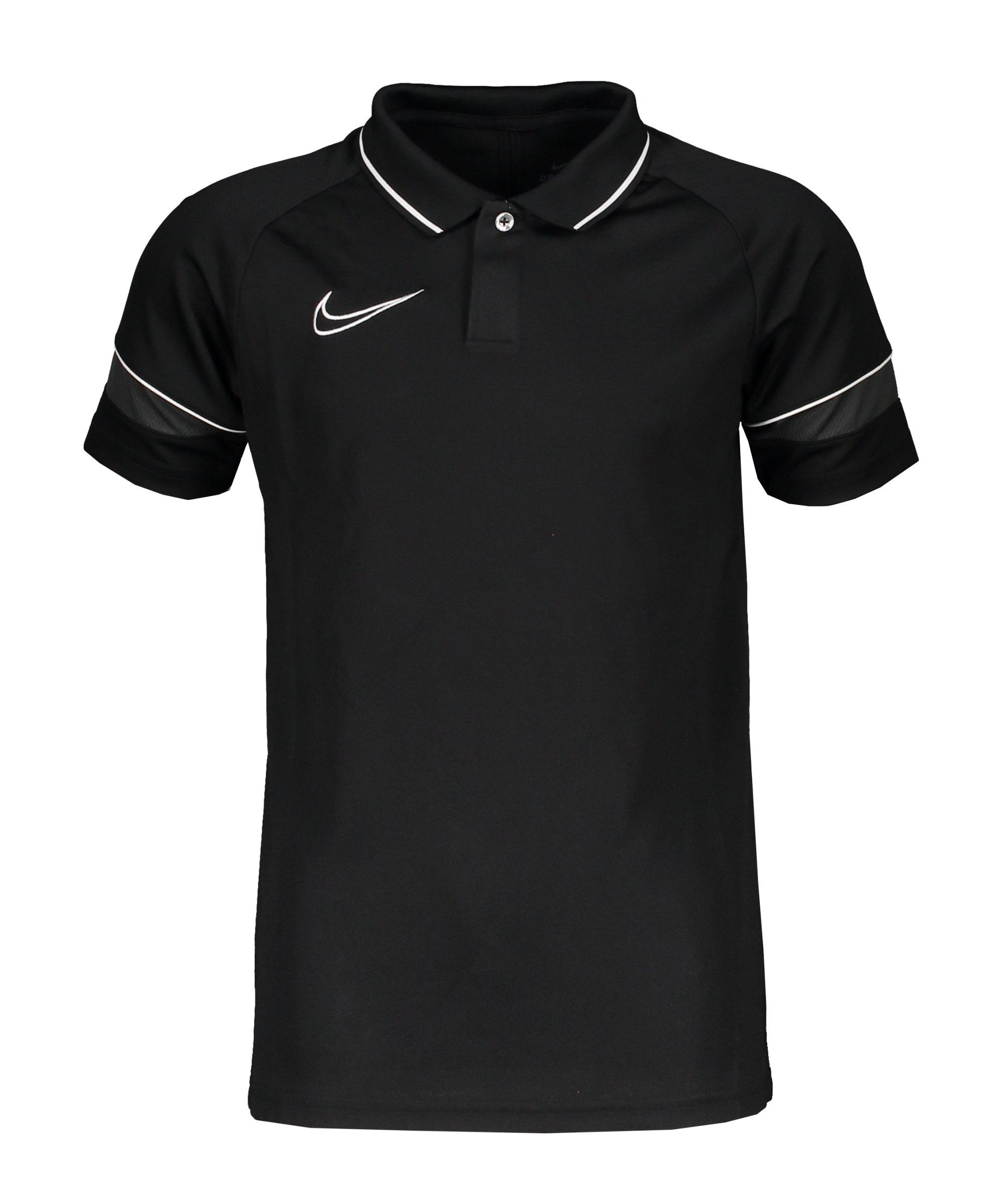 Nike Academy 21 Poloshirt Kids Schwarz Weiss F014 - schwarz