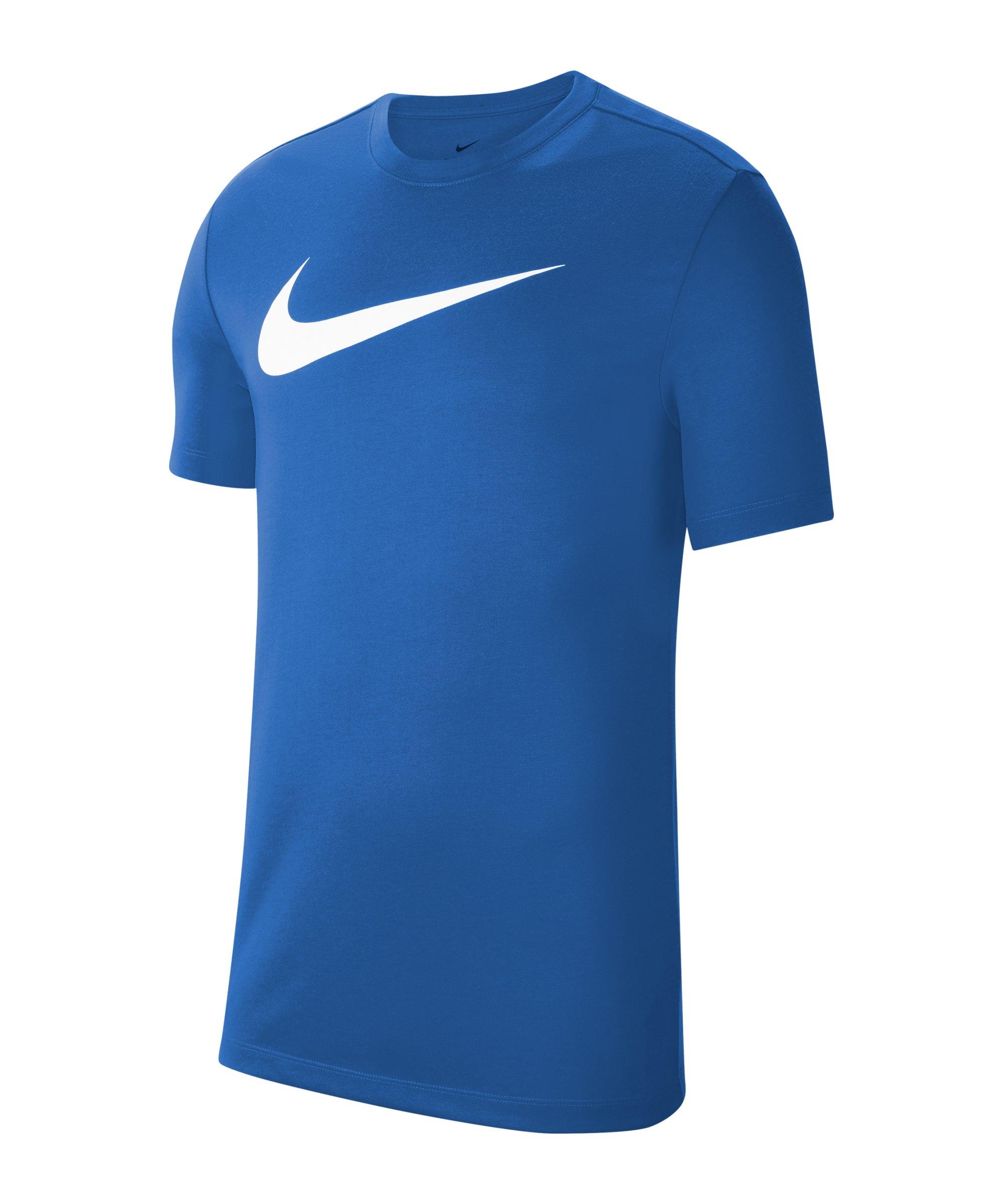 Nike Park 20 T-Shirt Swoosh Blau Weiss F463 - blau