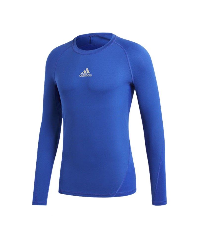 adidas Alphaskin Shirt langarm Kids Blau - blau