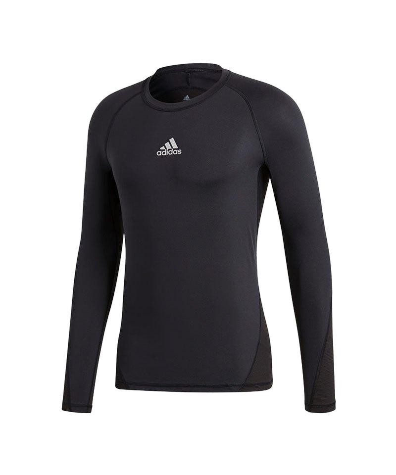 adidas Alphaskin Shirt langarm Kids Schwarz - schwarz