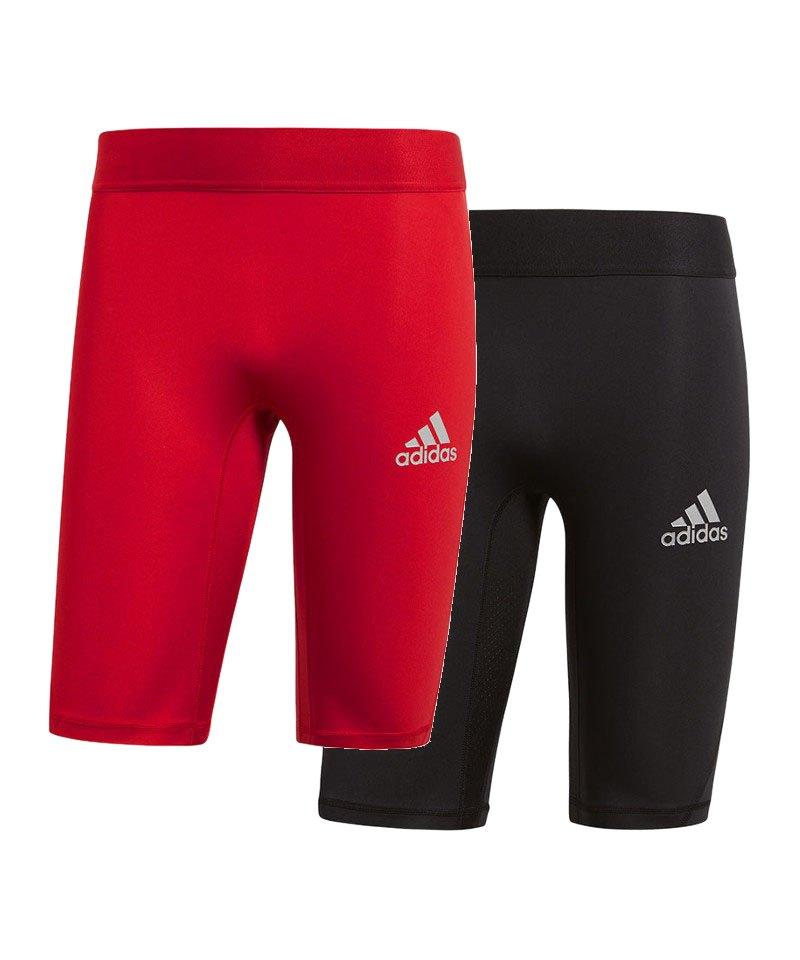 adidas Alphaskin Sport Short 2er Set Schwarz Rot - schwarz