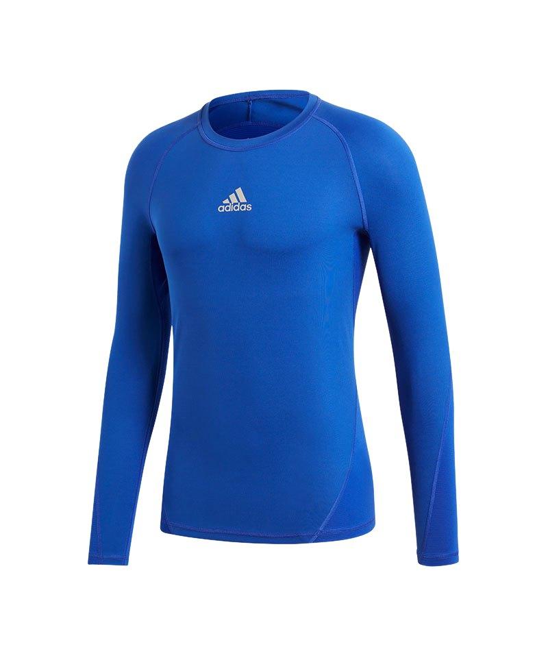 adidas Alphaskin Sport Shirt Longsleeve Blau - blau