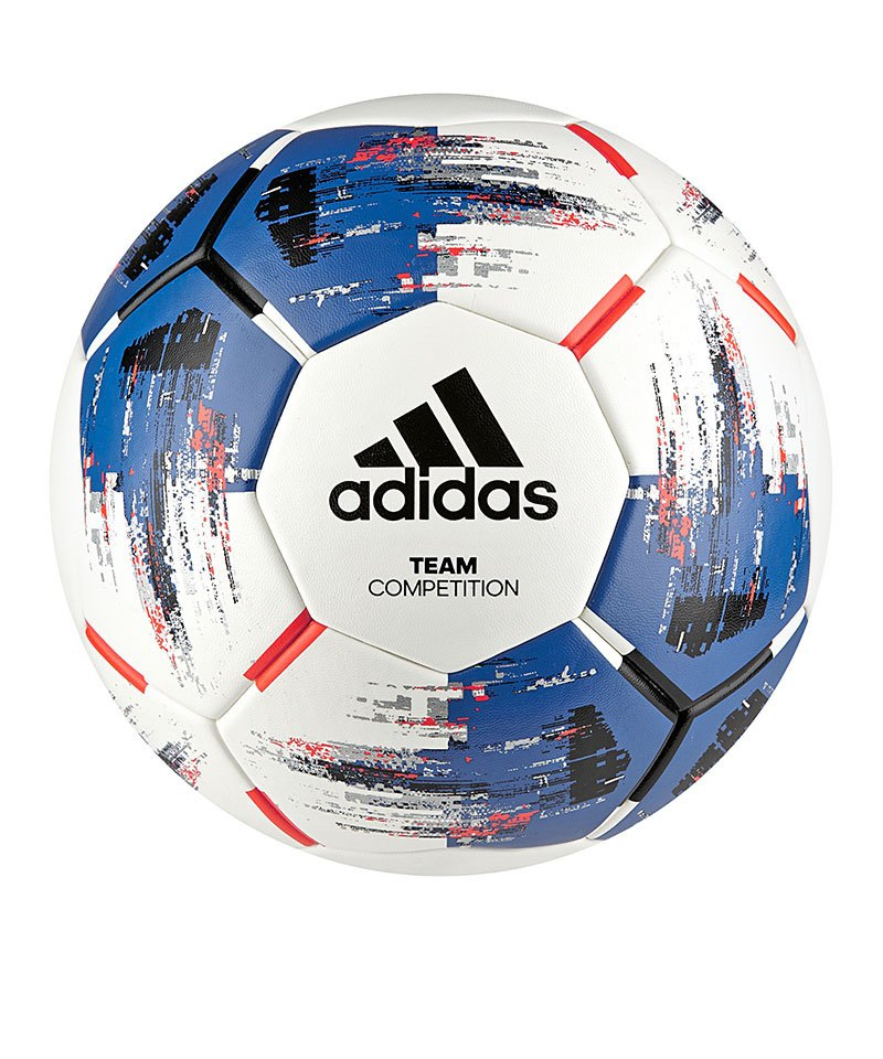 adidas Team Competition Trainingsball Weiss Blau - weiss