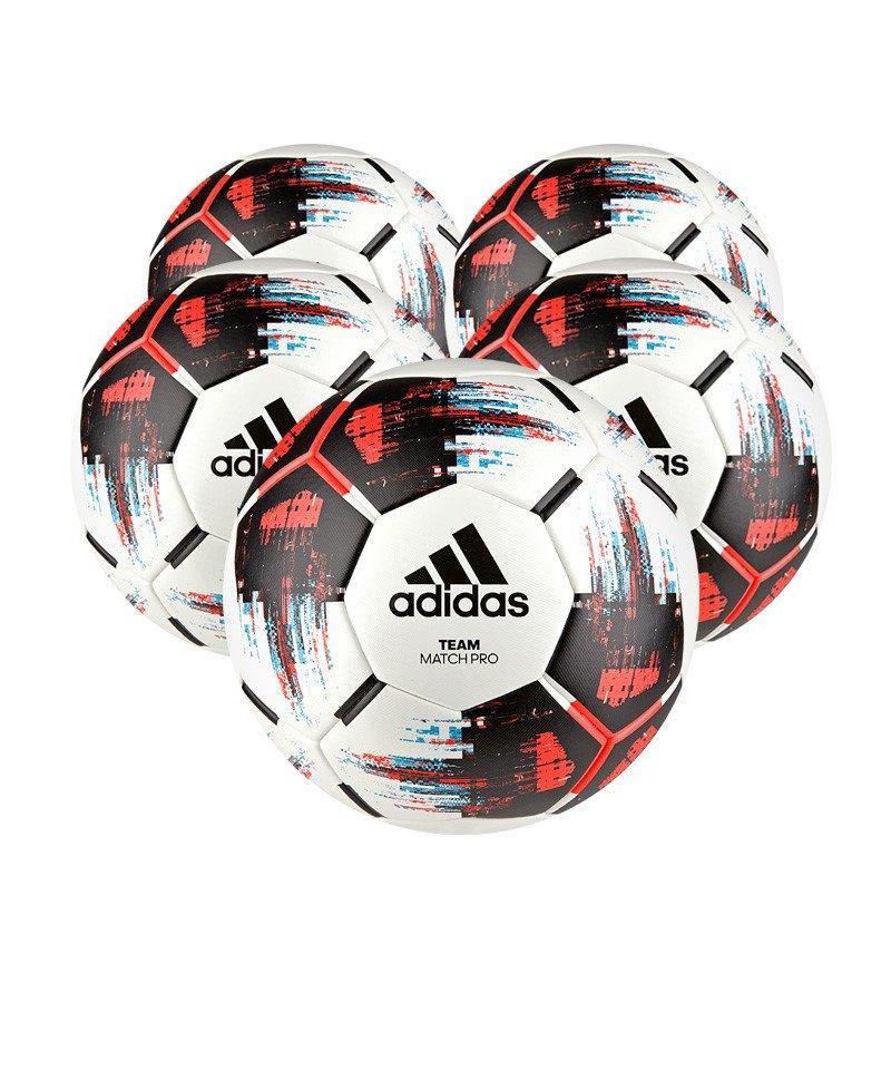 adidas Team 5xSpielball Weiss Schwarz Rot - weiss