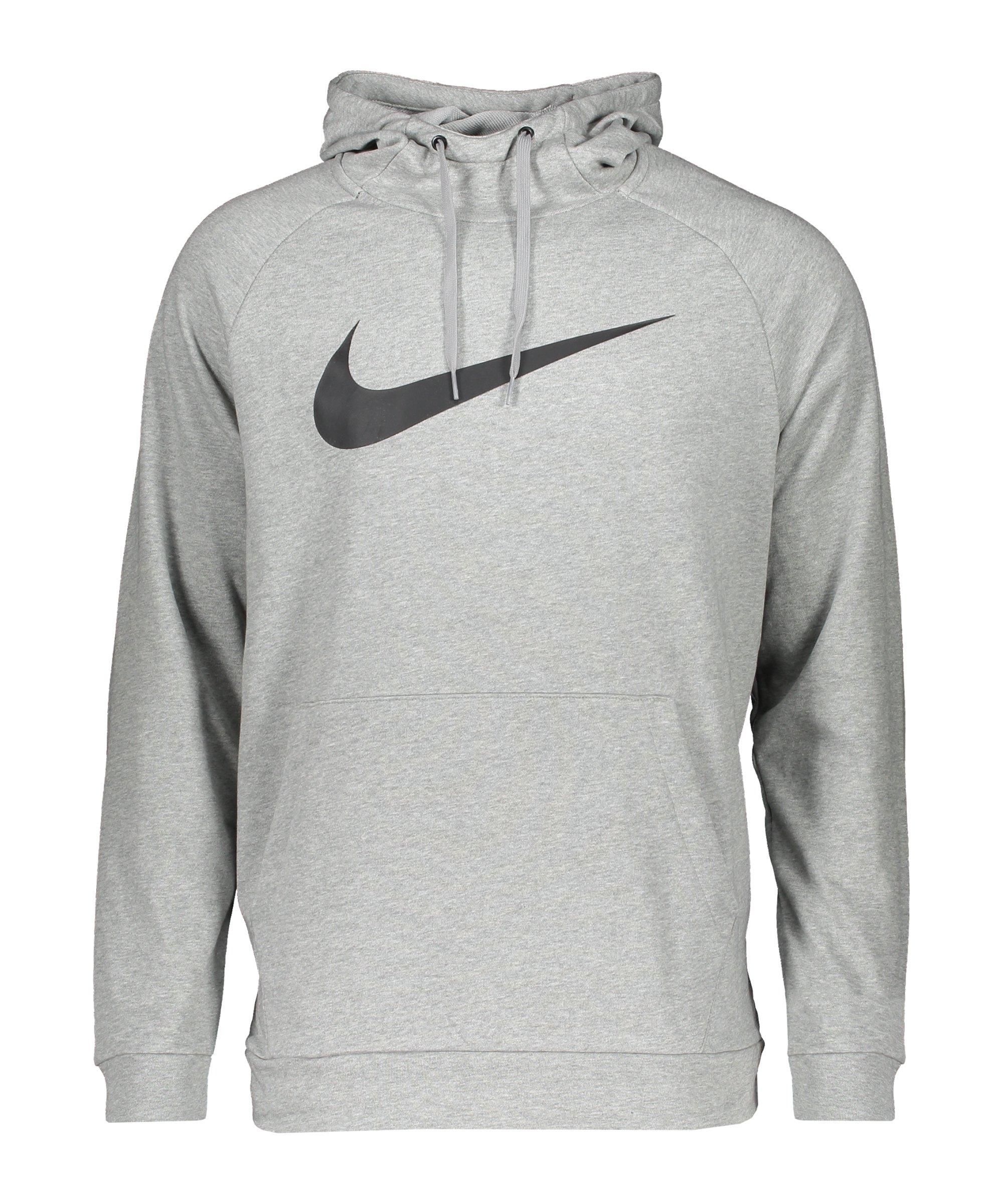 Nike Dri-FIT Swoosh Hoody Grau Schwarz F010 - grau