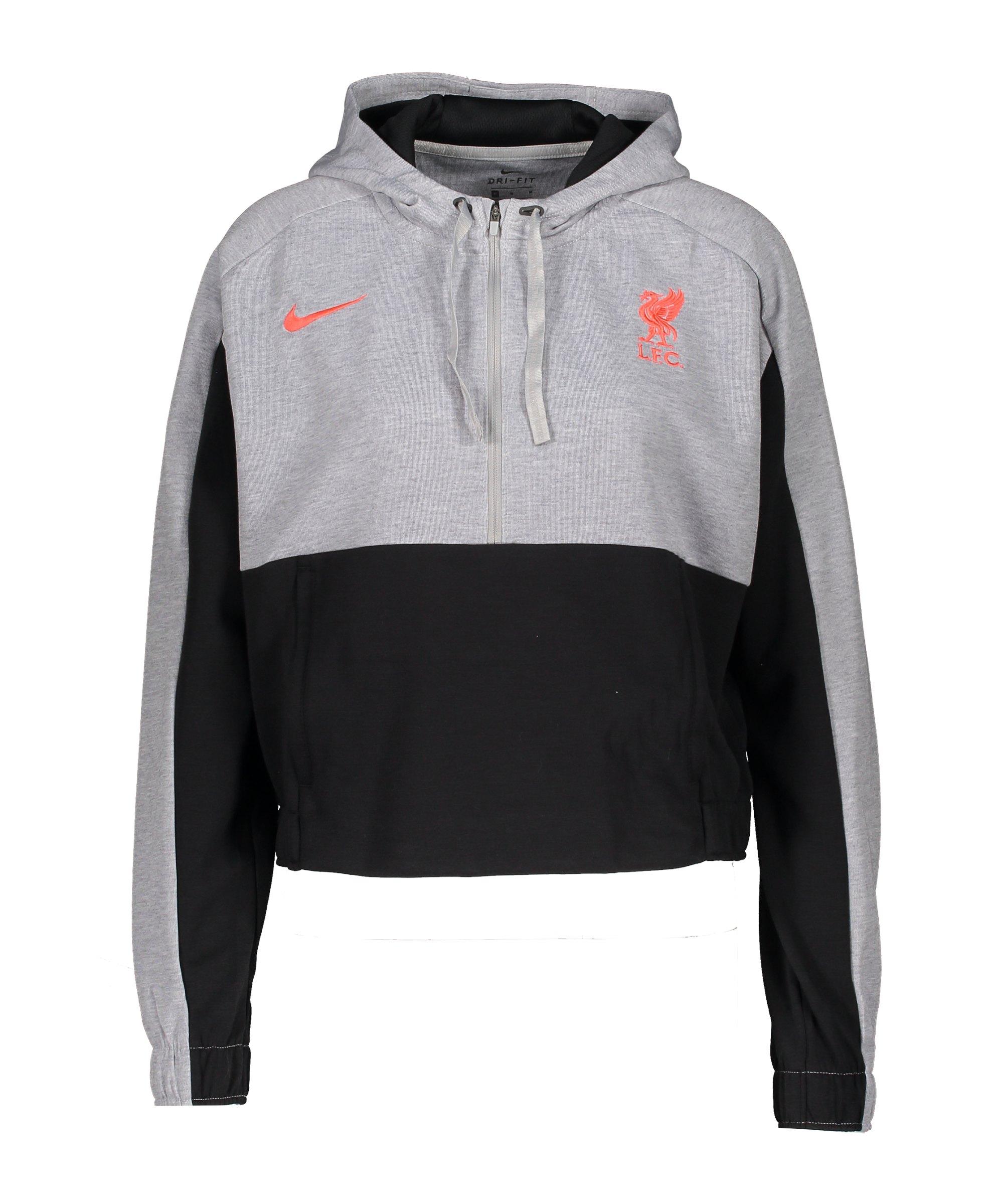 Nike FC Liverpool Cropped HalfZip Hoody Damen Grau F064 - grau