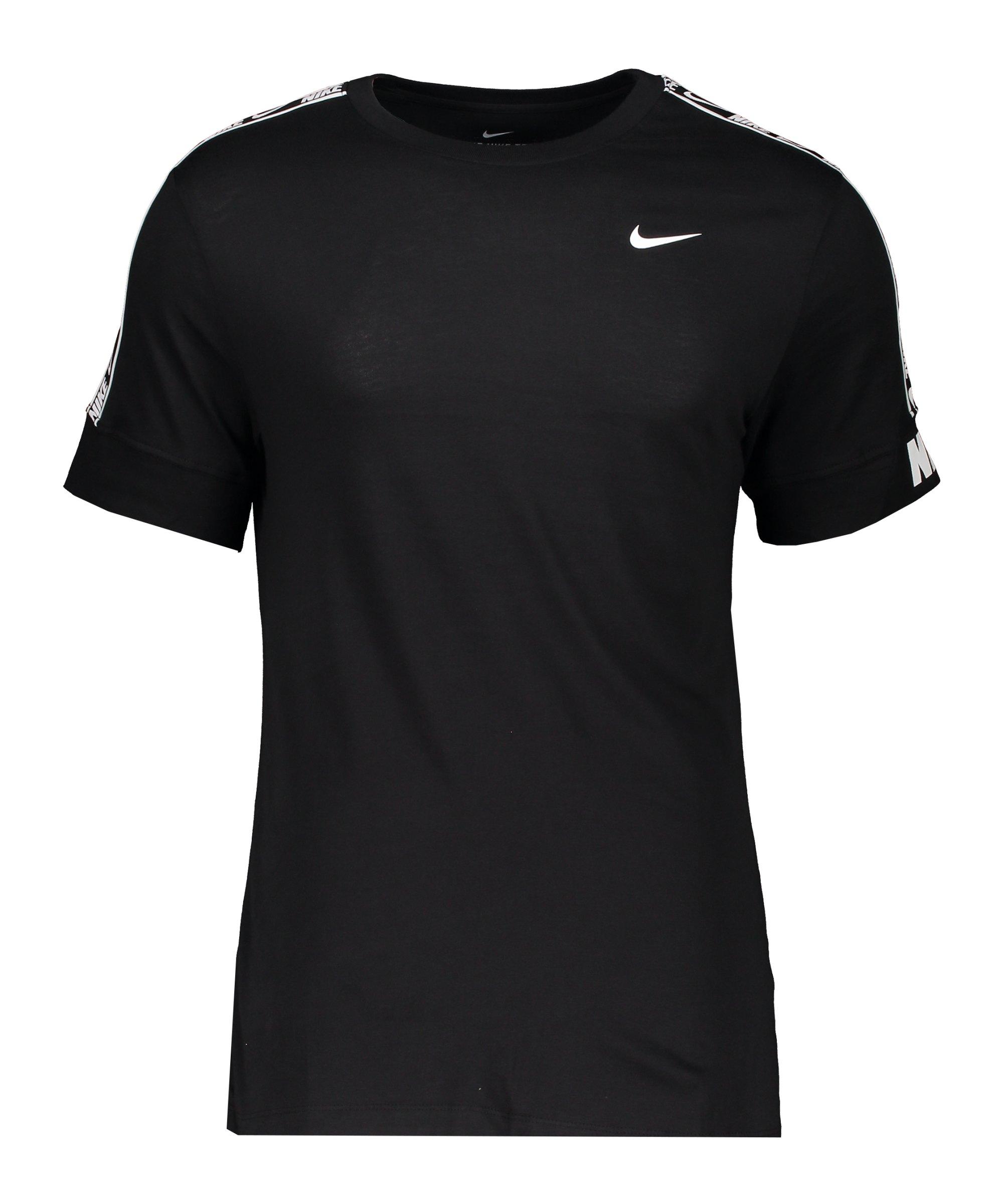 Nike Repeat T-Shirt Schwarz Weiss F013 - schwarz