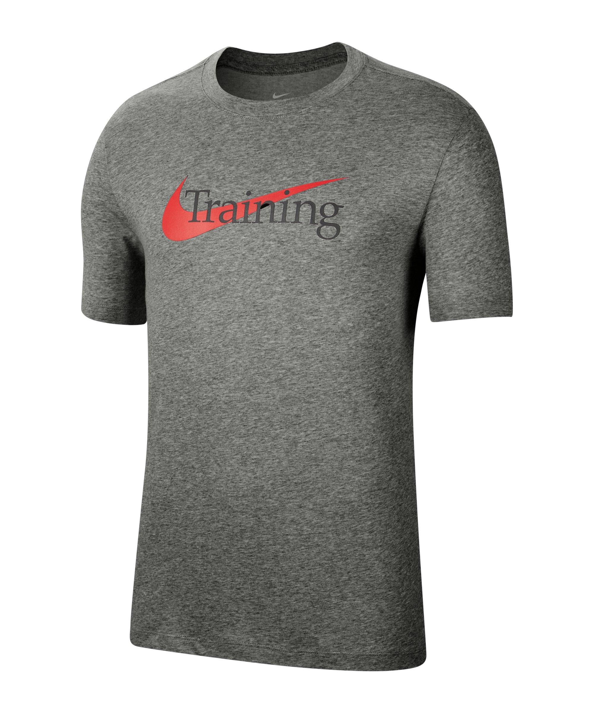 Nike Dri-FIT Swoosh T-Shirt Grau F063 - grau