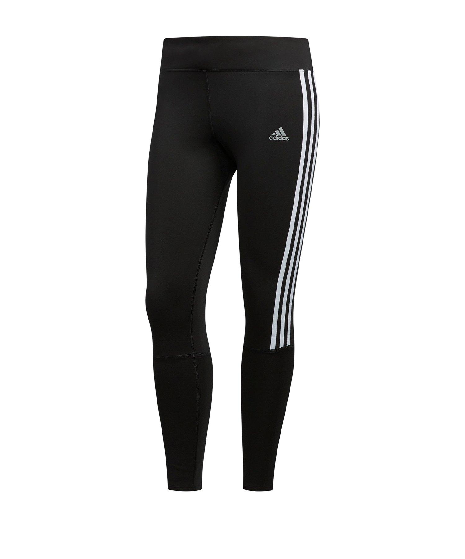 adidas 3S Tight Running Damen Schwarz Weiss - schwarz