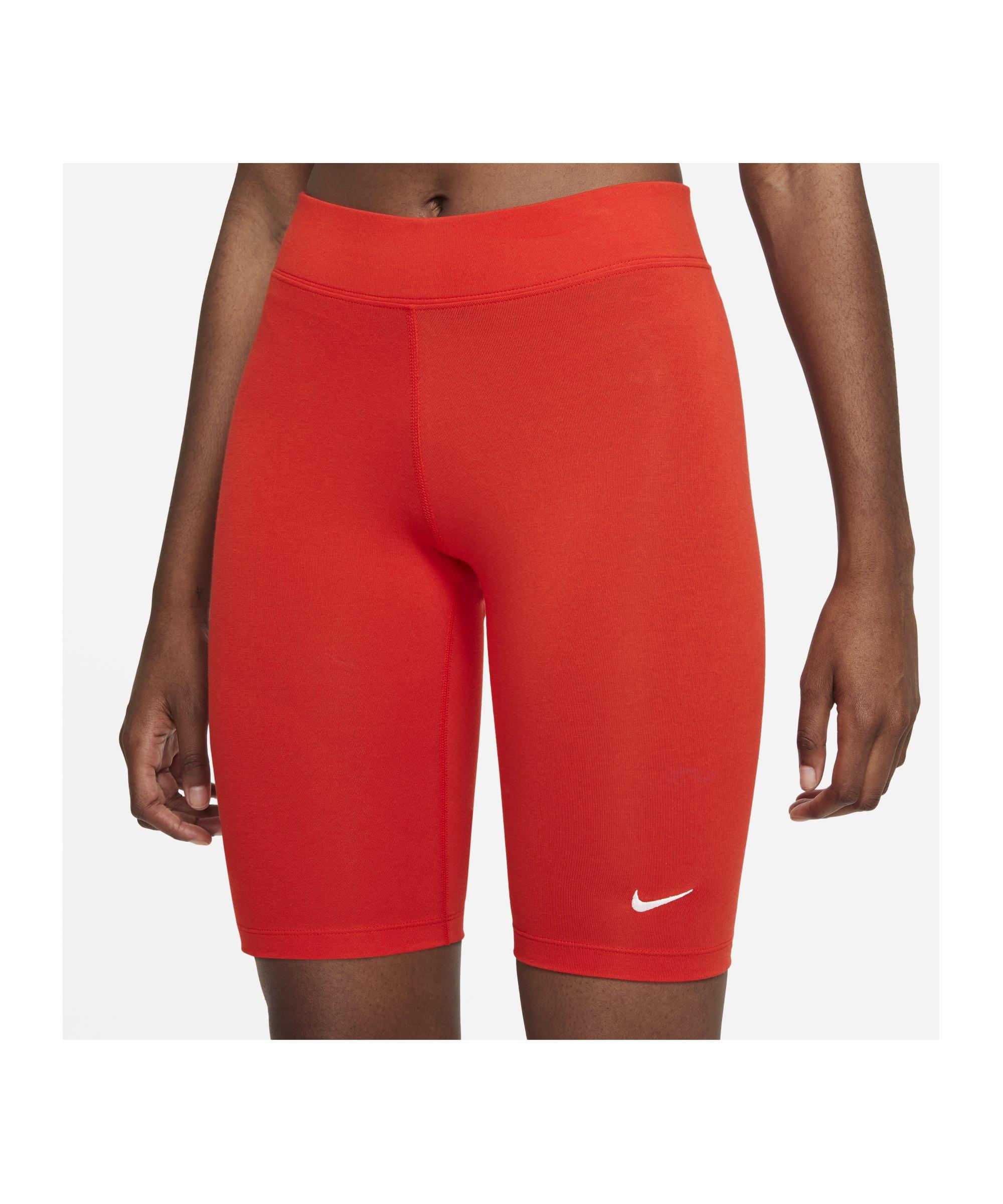 Nike Essentials Bike Short Damen Rot Weiss F673 - rot