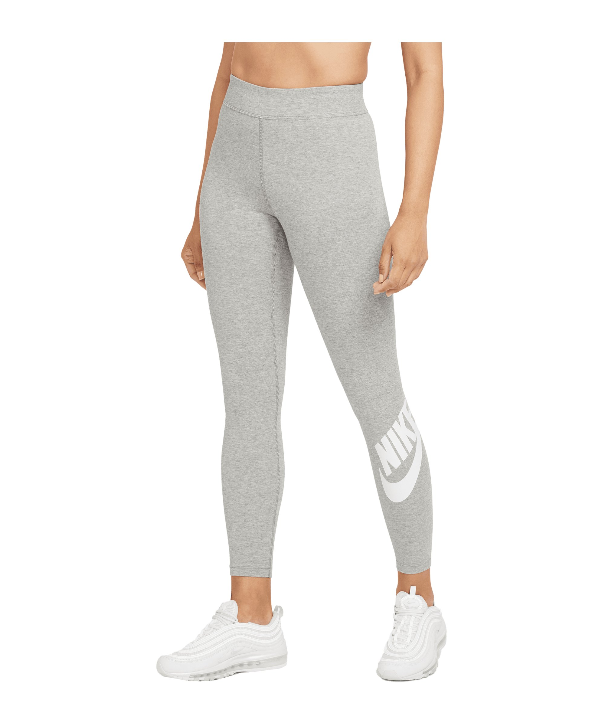 Nike Essentials Leggings Damen Grau Weiss F063 - grau