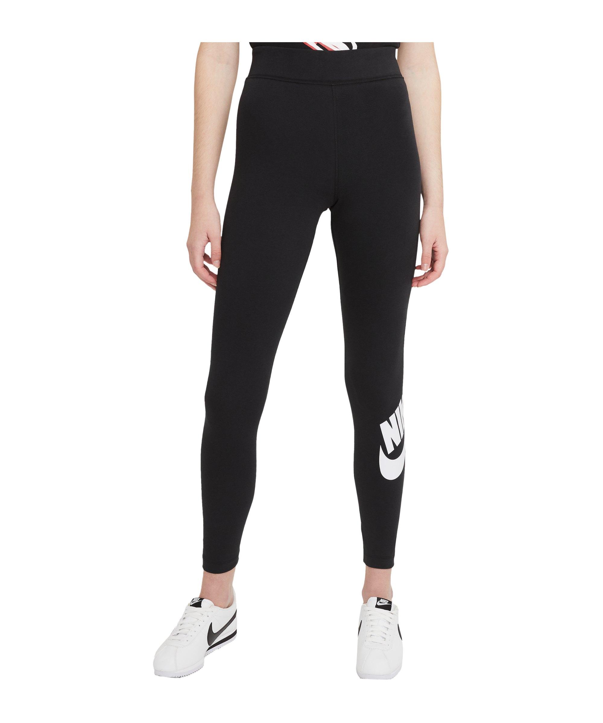 Nike Essentials Leggings Damen Schwarz Weiss F010 - schwarz