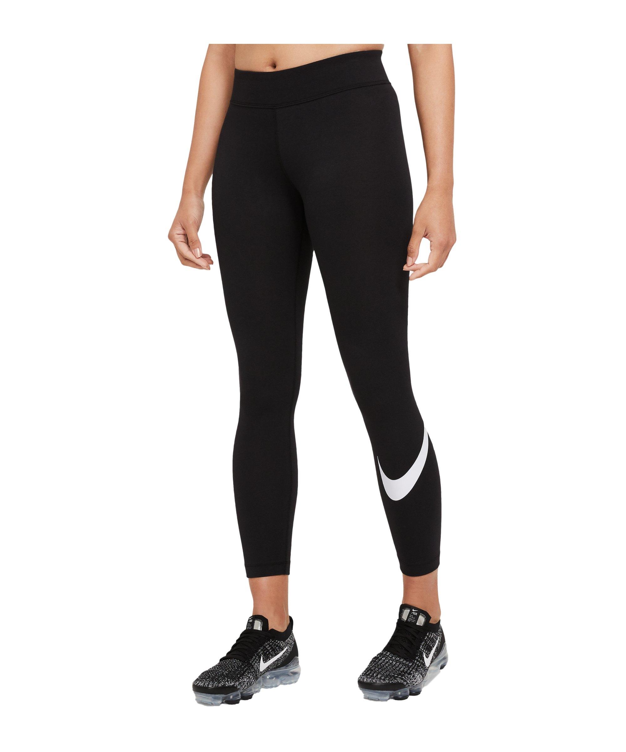 Nike Essentials Swoosh Leggings Damen Schwarz F010 - schwarz