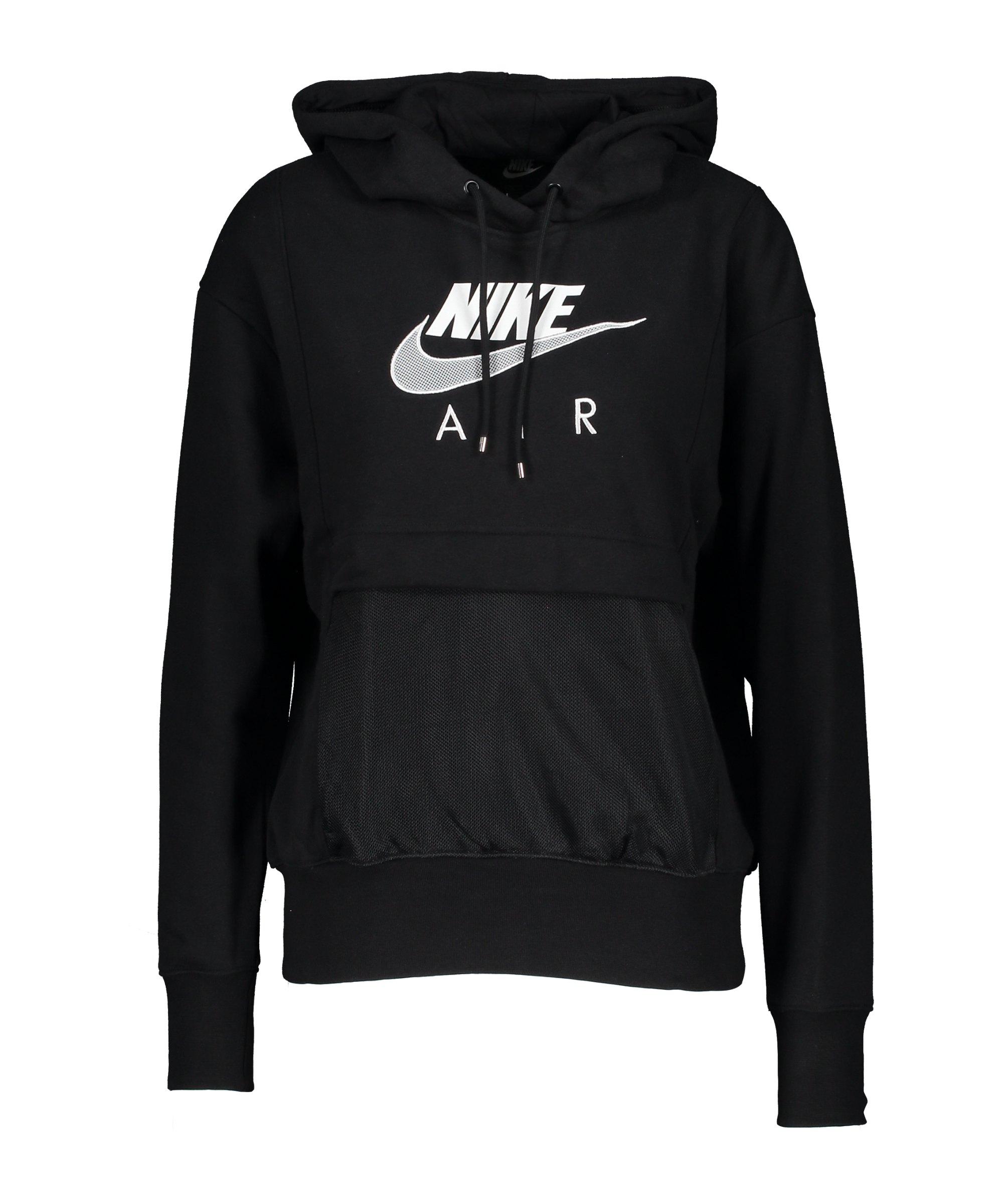 Nike Air Fleece Hoody Damen Schwarz Weiss F010 - schwarz