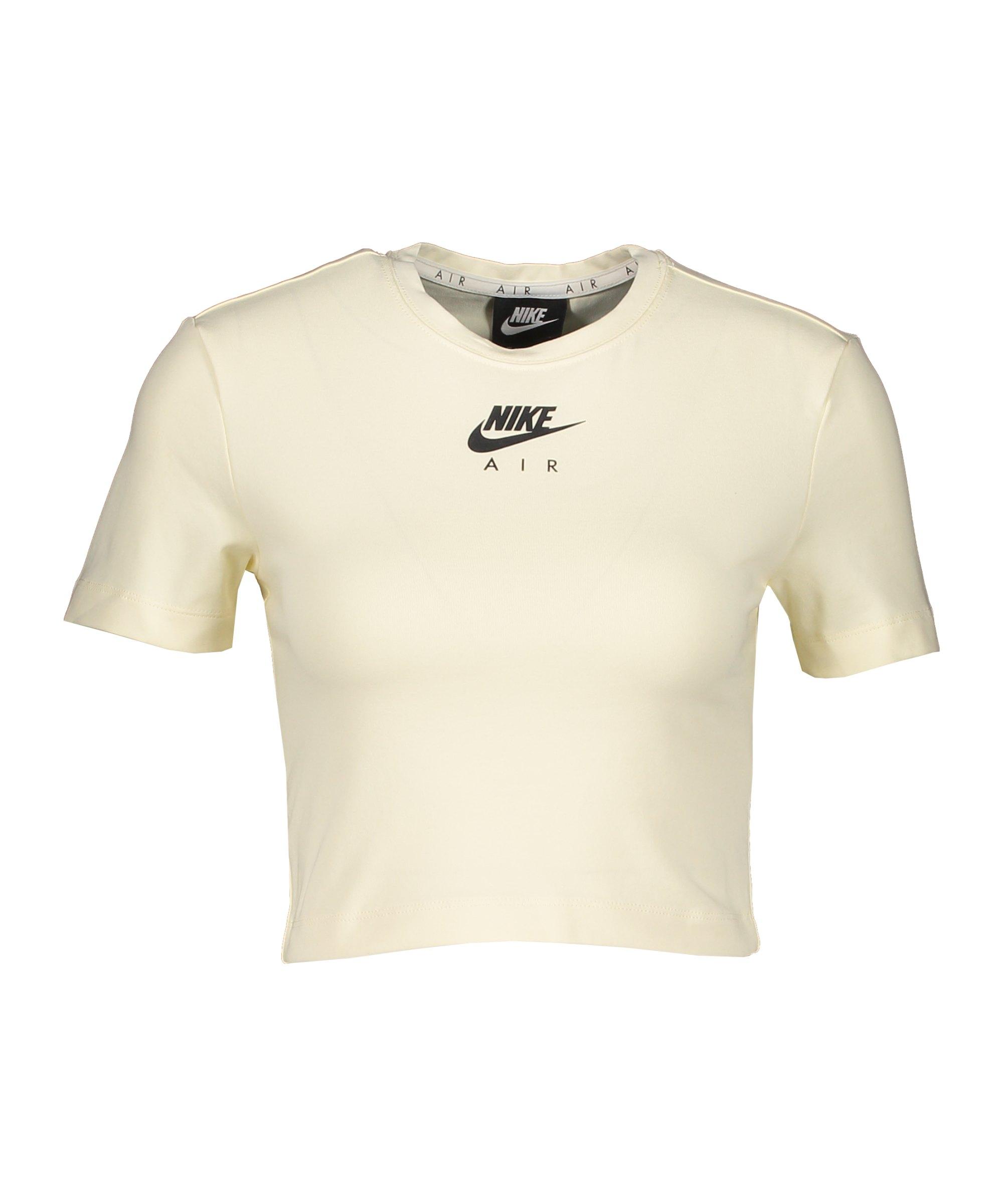 Nike Air Crop T-Shirt Damen Beige Schwarz F113 - beige